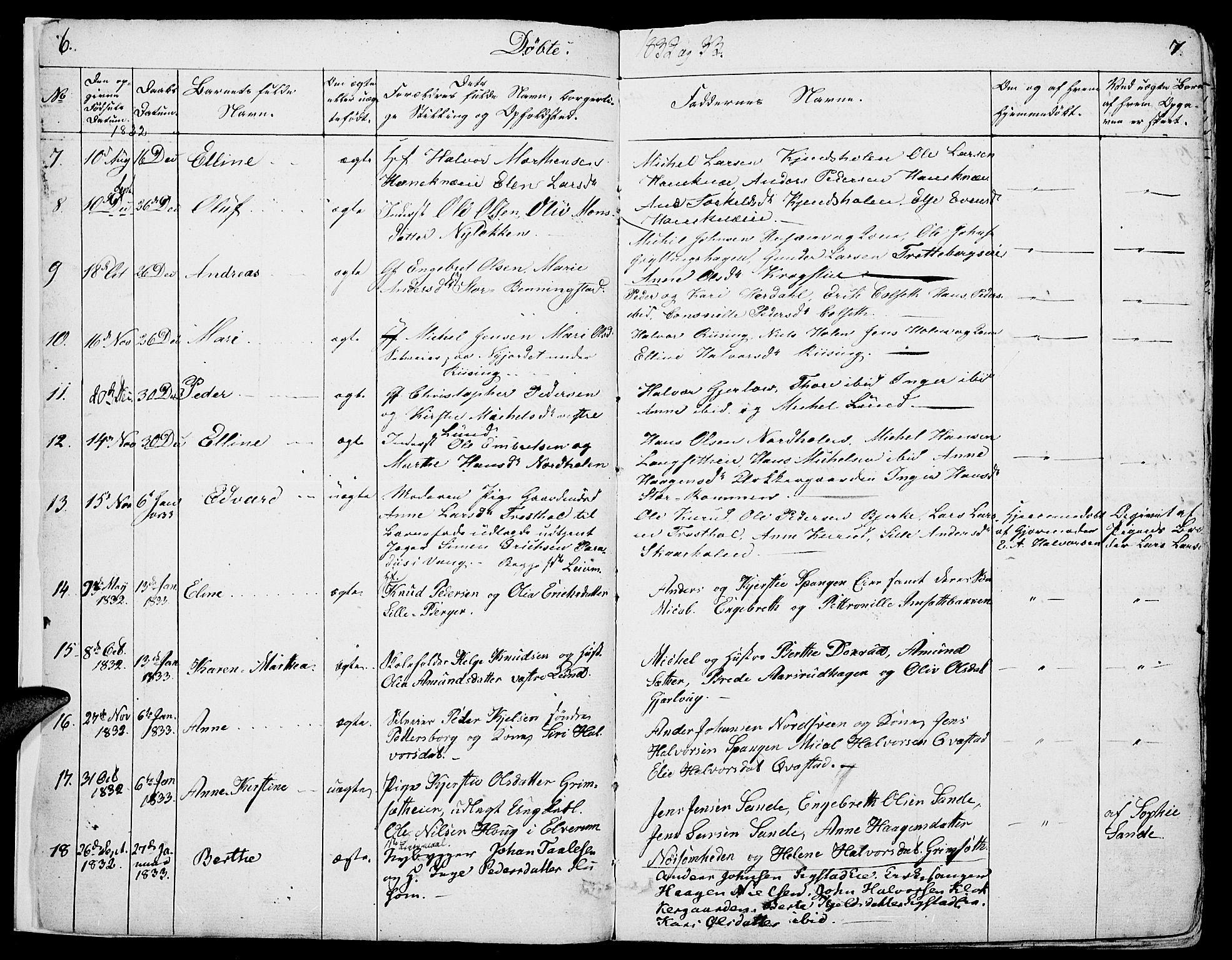 SAH, Løten prestekontor, K/Ka/L0006: Parish register (official) no. 6, 1832-1849, p. 6-7