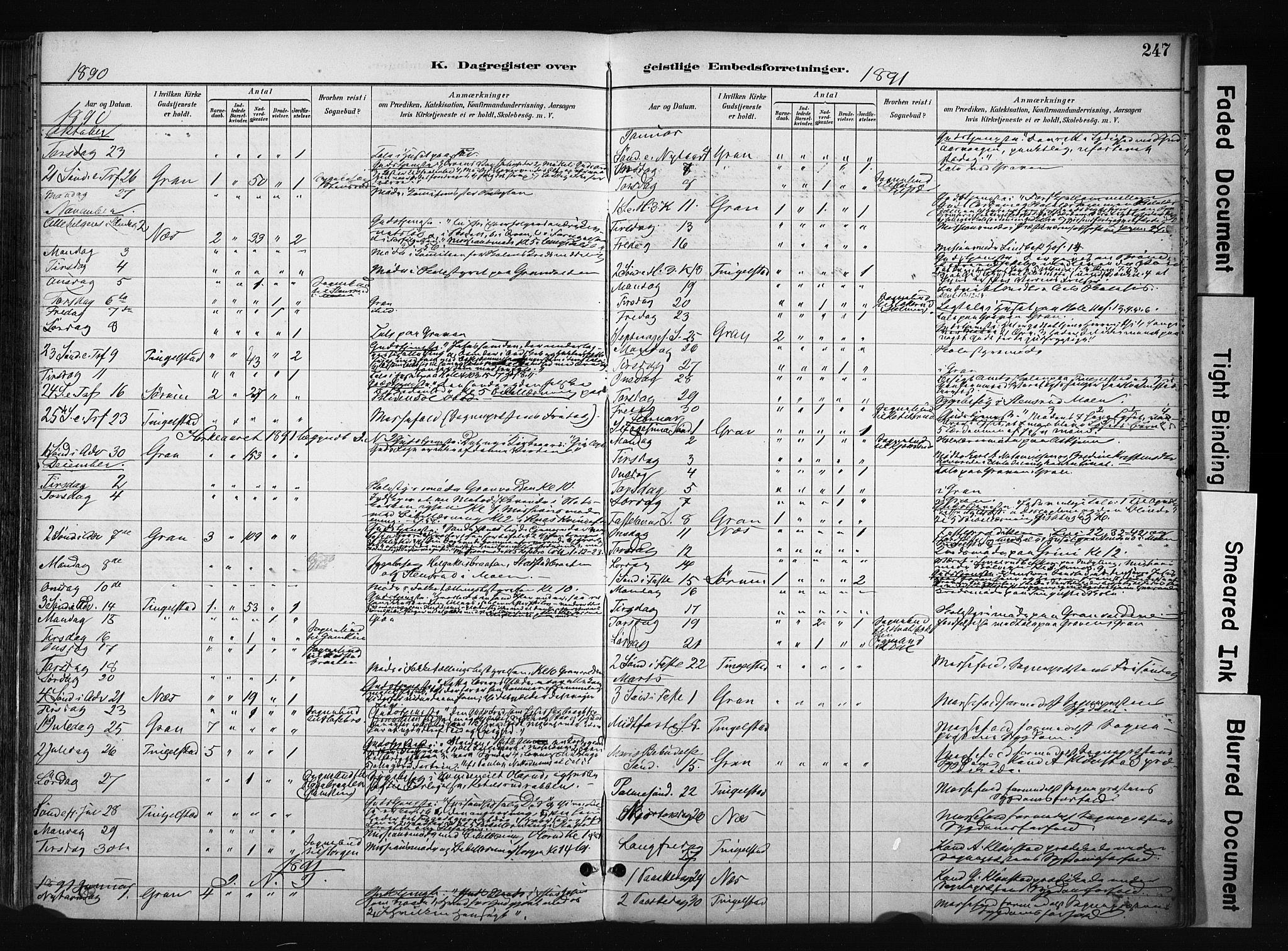 SAH, Gran prestekontor, Parish register (official) no. 17, 1889-1897, p. 247