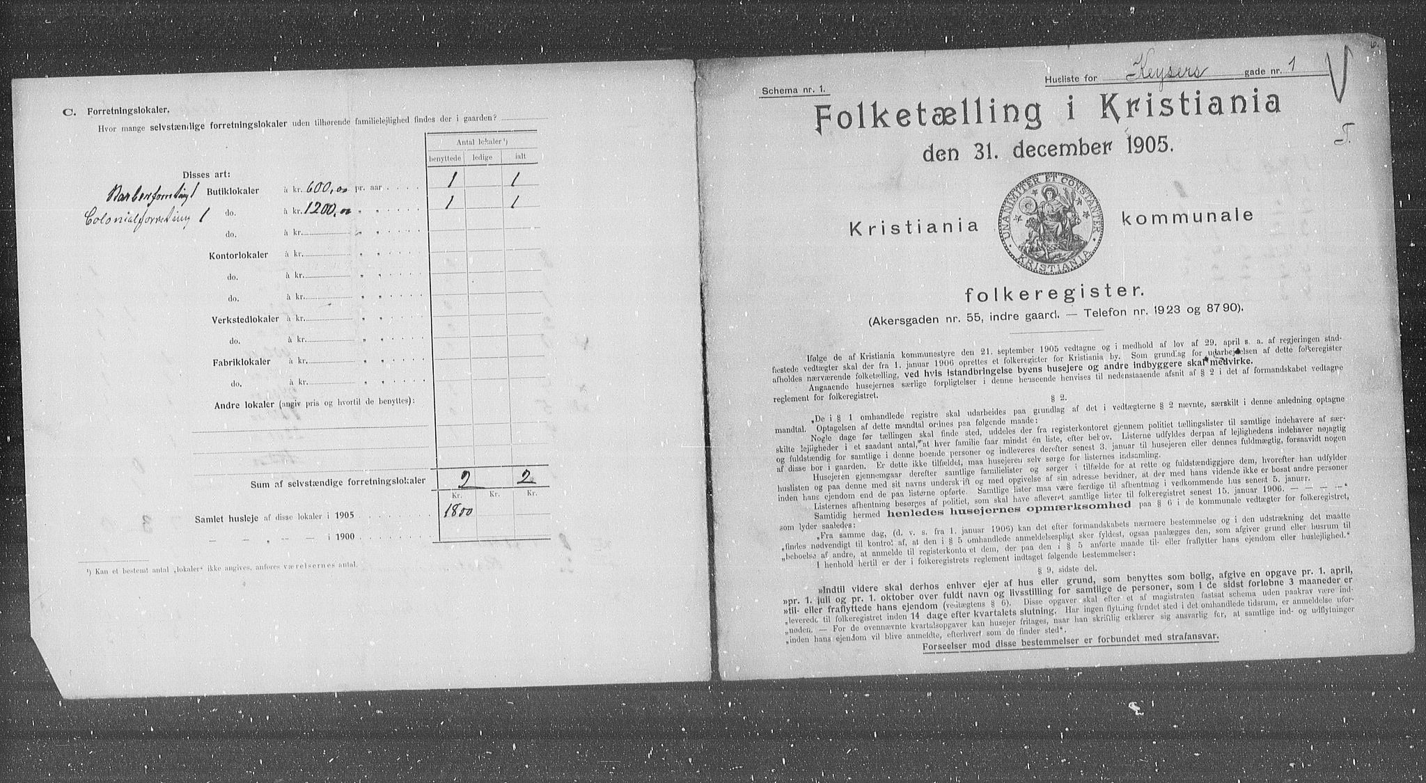 OBA, Municipal Census 1905 for Kristiania, 1905, p. 25845