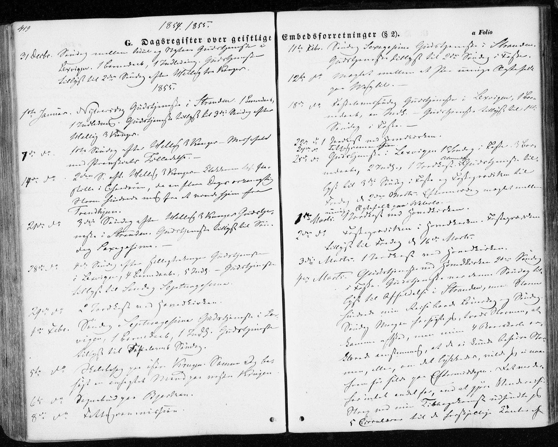 SAT, Ministerialprotokoller, klokkerbøker og fødselsregistre - Nord-Trøndelag, 701/L0008: Parish register (official) no. 701A08 /1, 1854-1863, p. 419