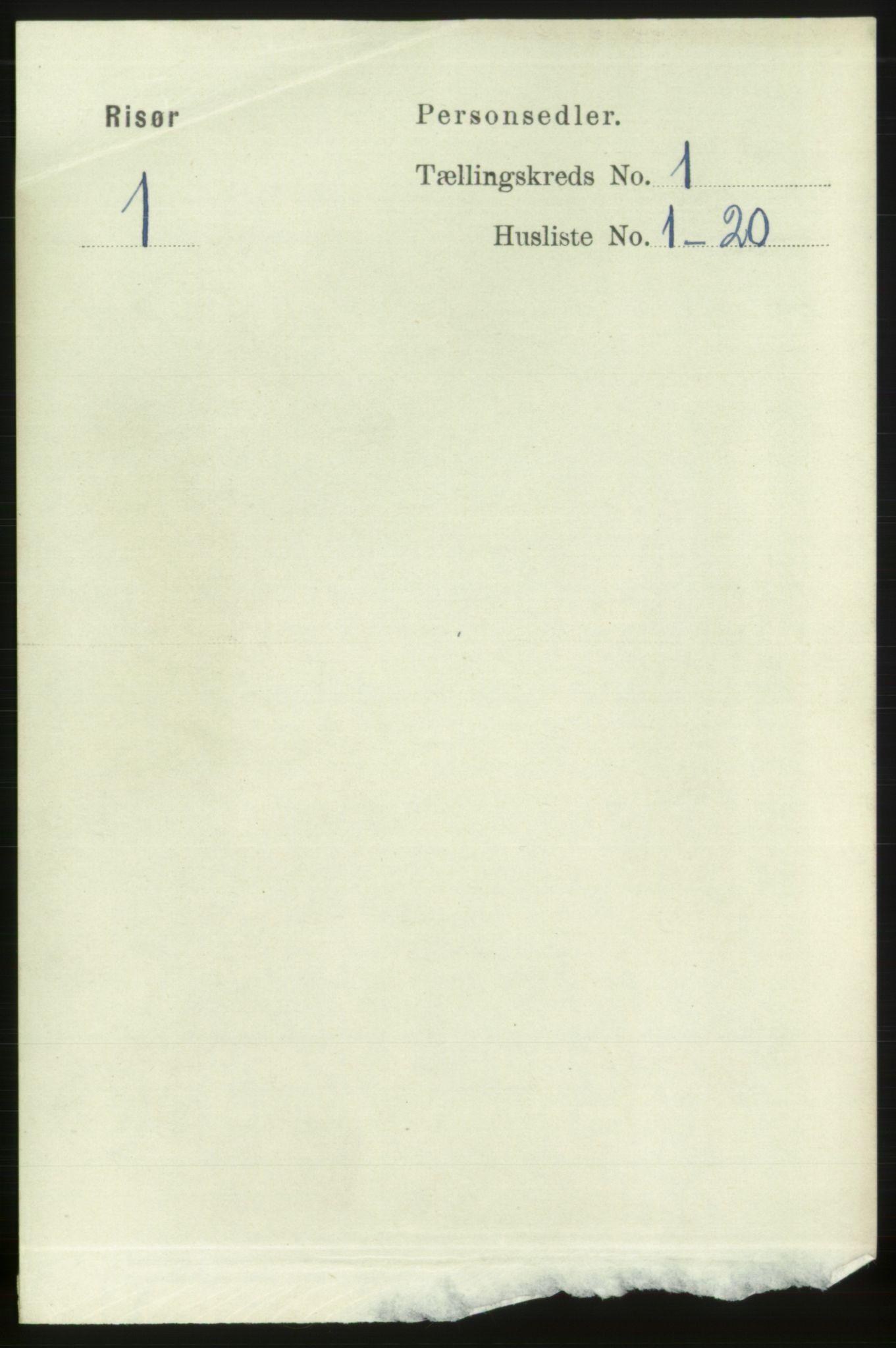 RA, 1891 census for 0901 Risør, 1891, p. 887