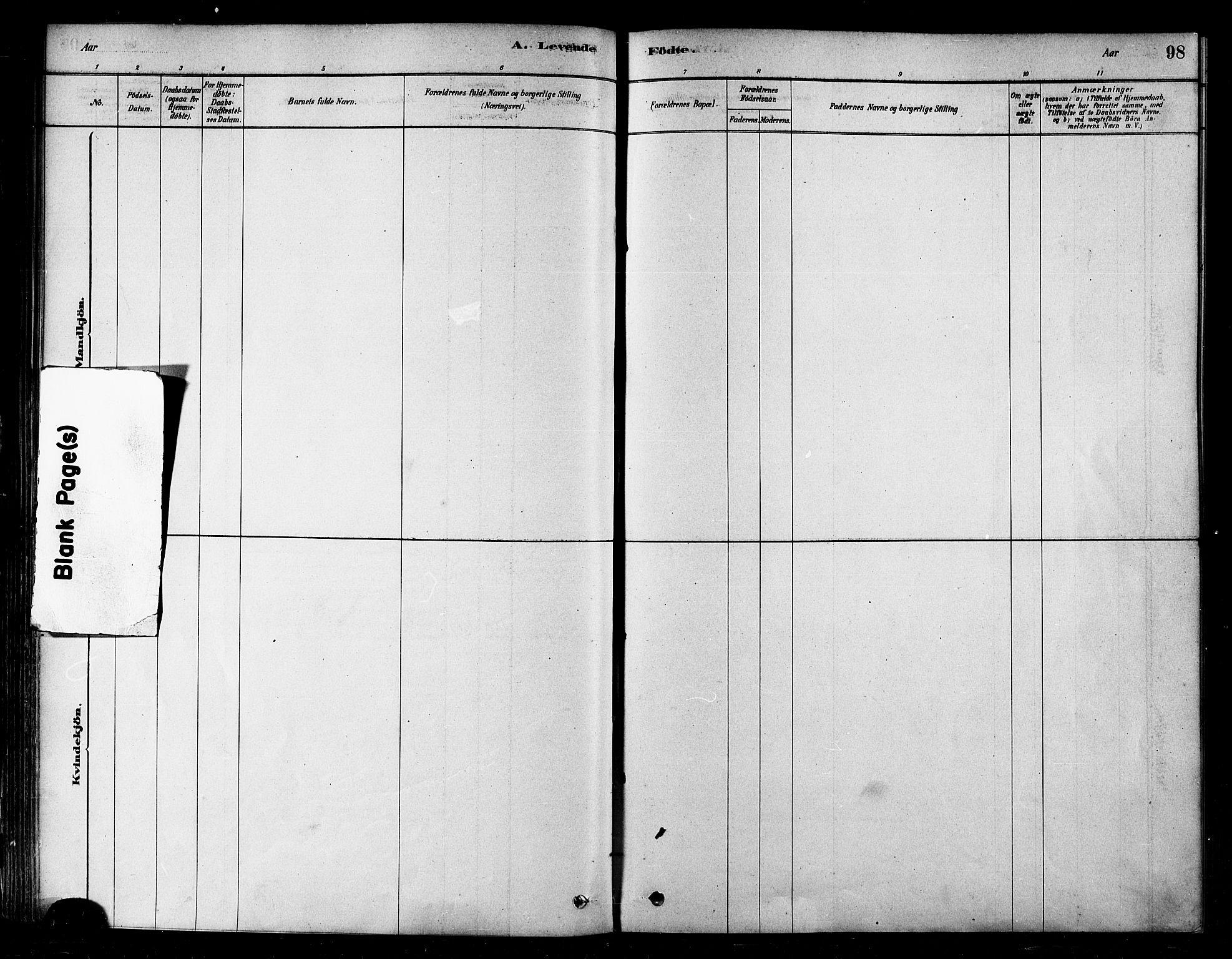 SATØ, Alta sokneprestkontor, H/Ha/L0002.kirke: Parish register (official) no. 2, 1879-1892, p. 98