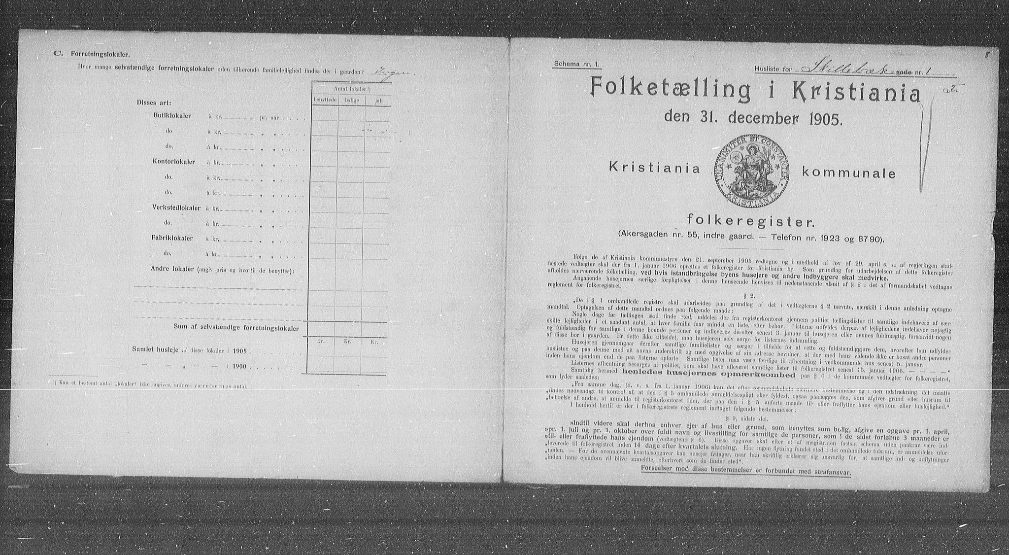 OBA, Municipal Census 1905 for Kristiania, 1905, p. 49500