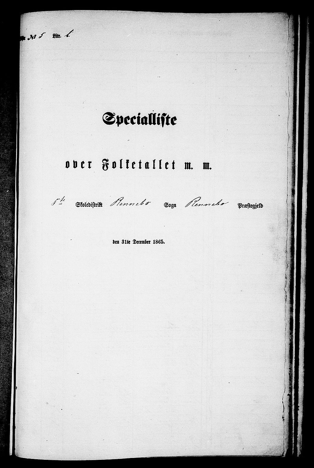 RA, 1865 census for Rennebu, 1865, p. 95
