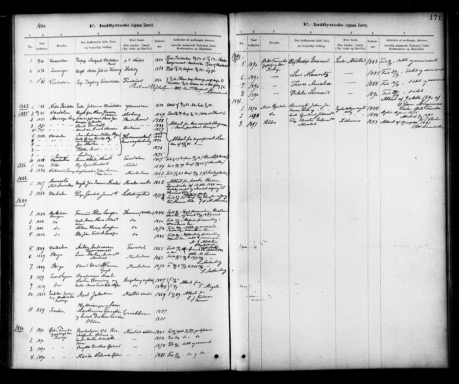SAT, Ministerialprotokoller, klokkerbøker og fødselsregistre - Nord-Trøndelag, 706/L0047: Parish register (official) no. 706A03, 1878-1892, p. 171