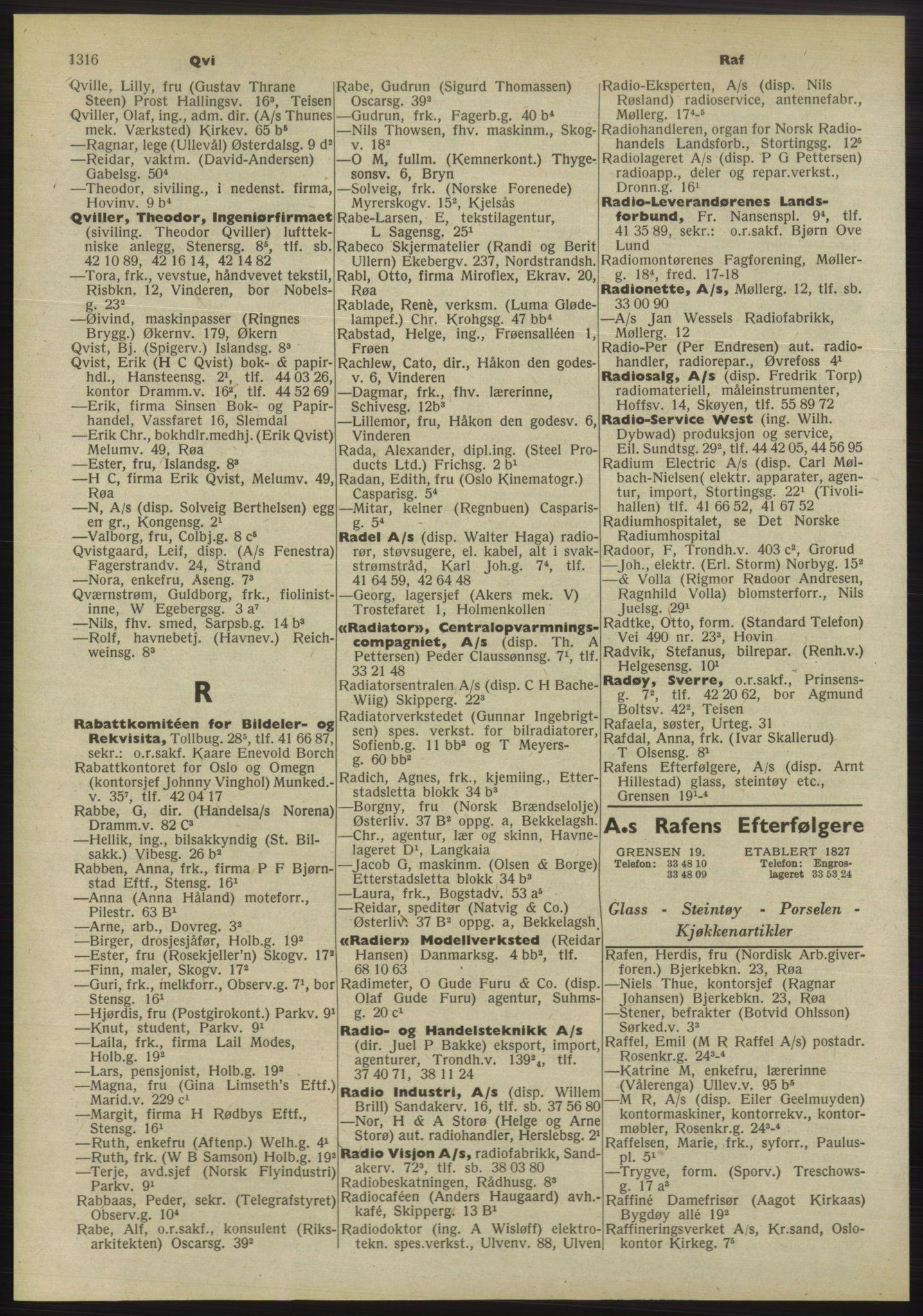 PUBL, Kristiania/Oslo adressebok, 1955, p. 1316
