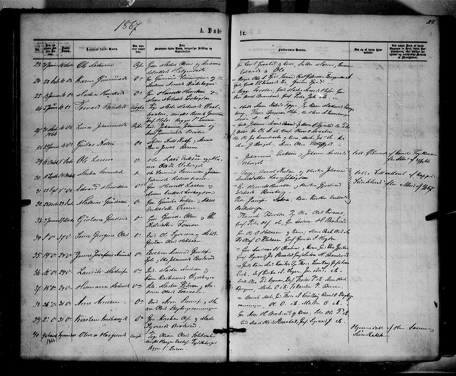 SAH, Brandval prestekontor, H/Ha/Haa/L0001: Parish register (official) no. 1, 1864-1879, p. 27