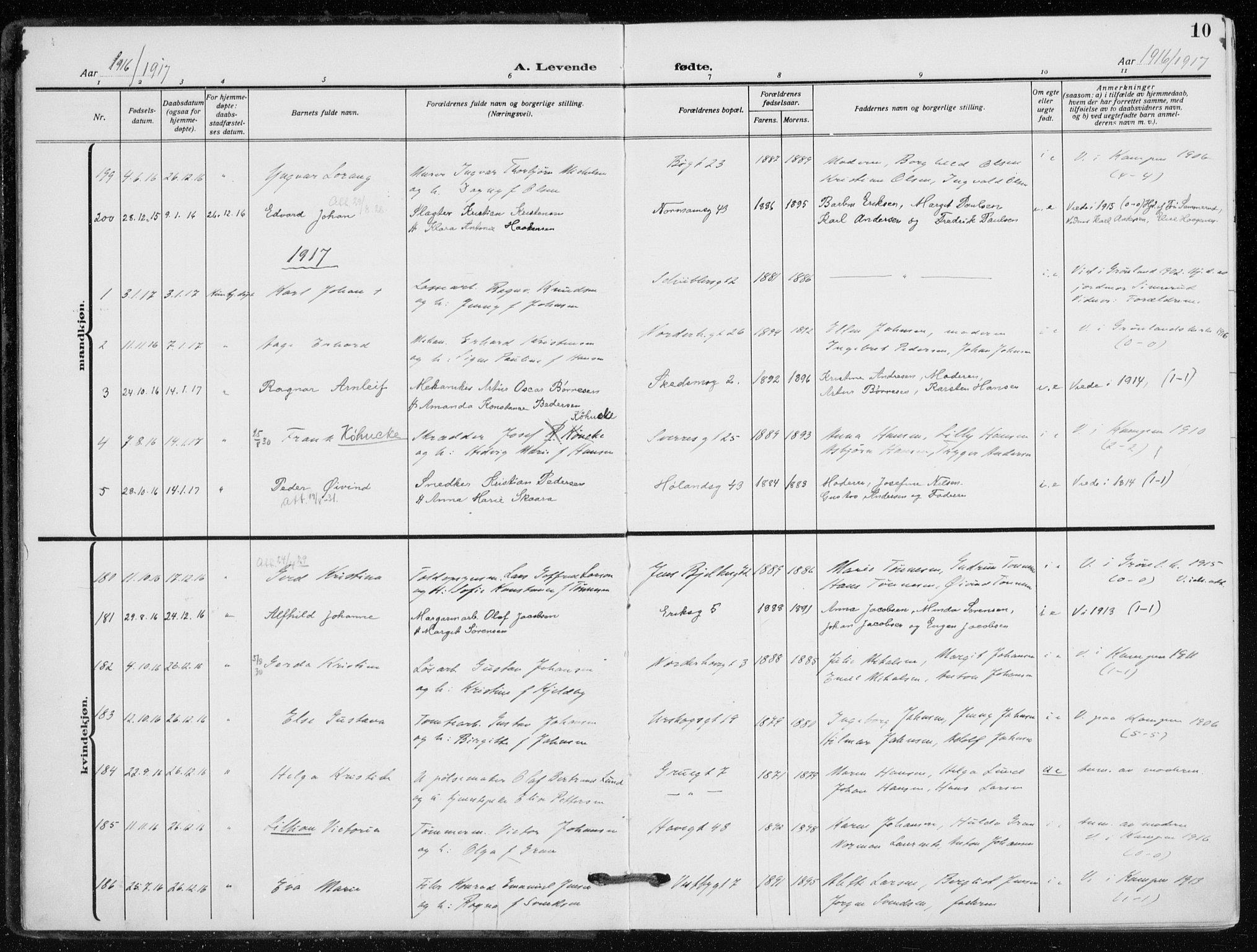 SAO, Kampen prestekontor Kirkebøker, F/Fa/L0012: Parish register (official) no. I 12, 1916-1921, p. 10