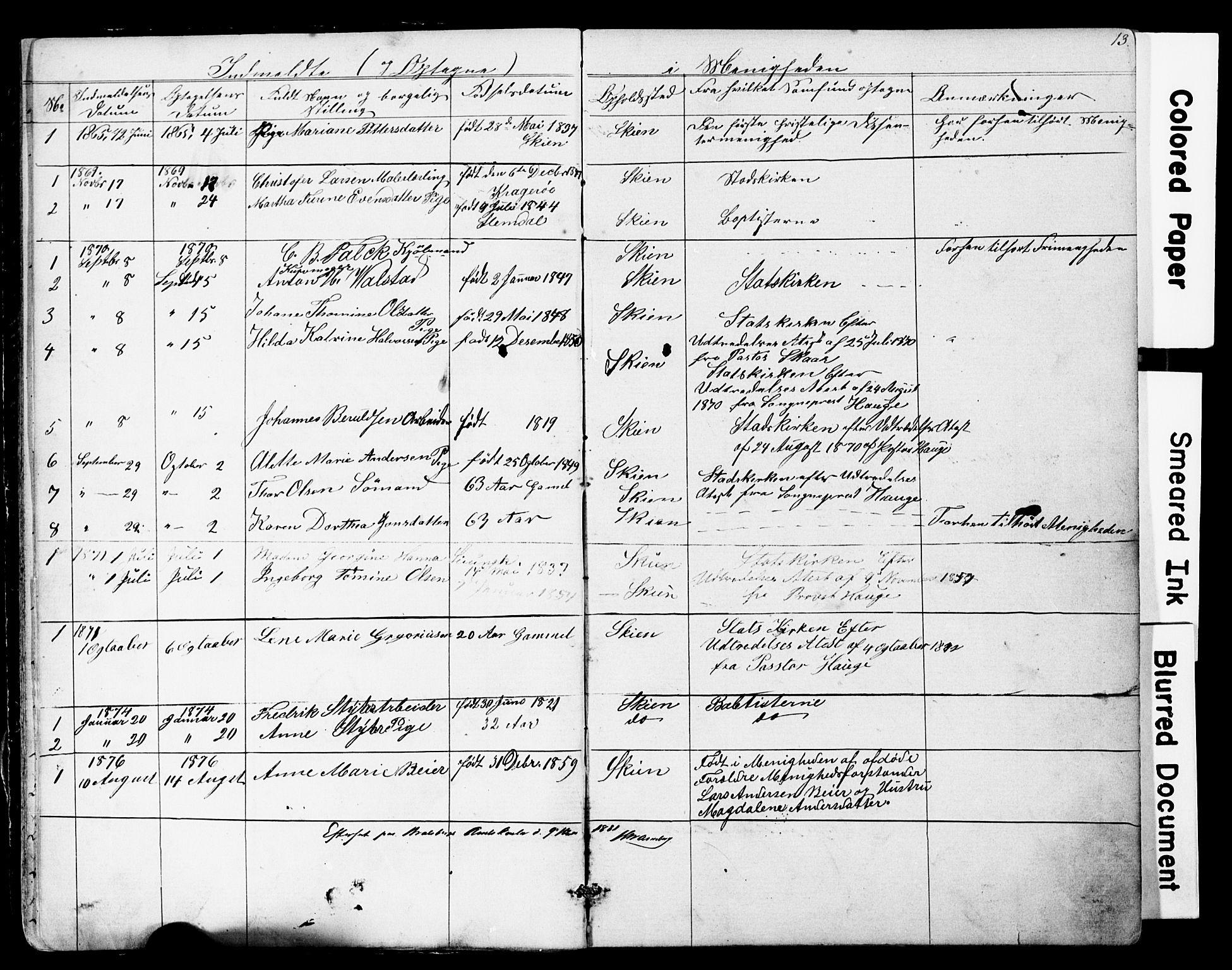 SAKO, Den frie apostolisk-kristelige menighet i Skien, F/Fa/L0001: Dissenter register no. 1, 1856-1892, p. 13