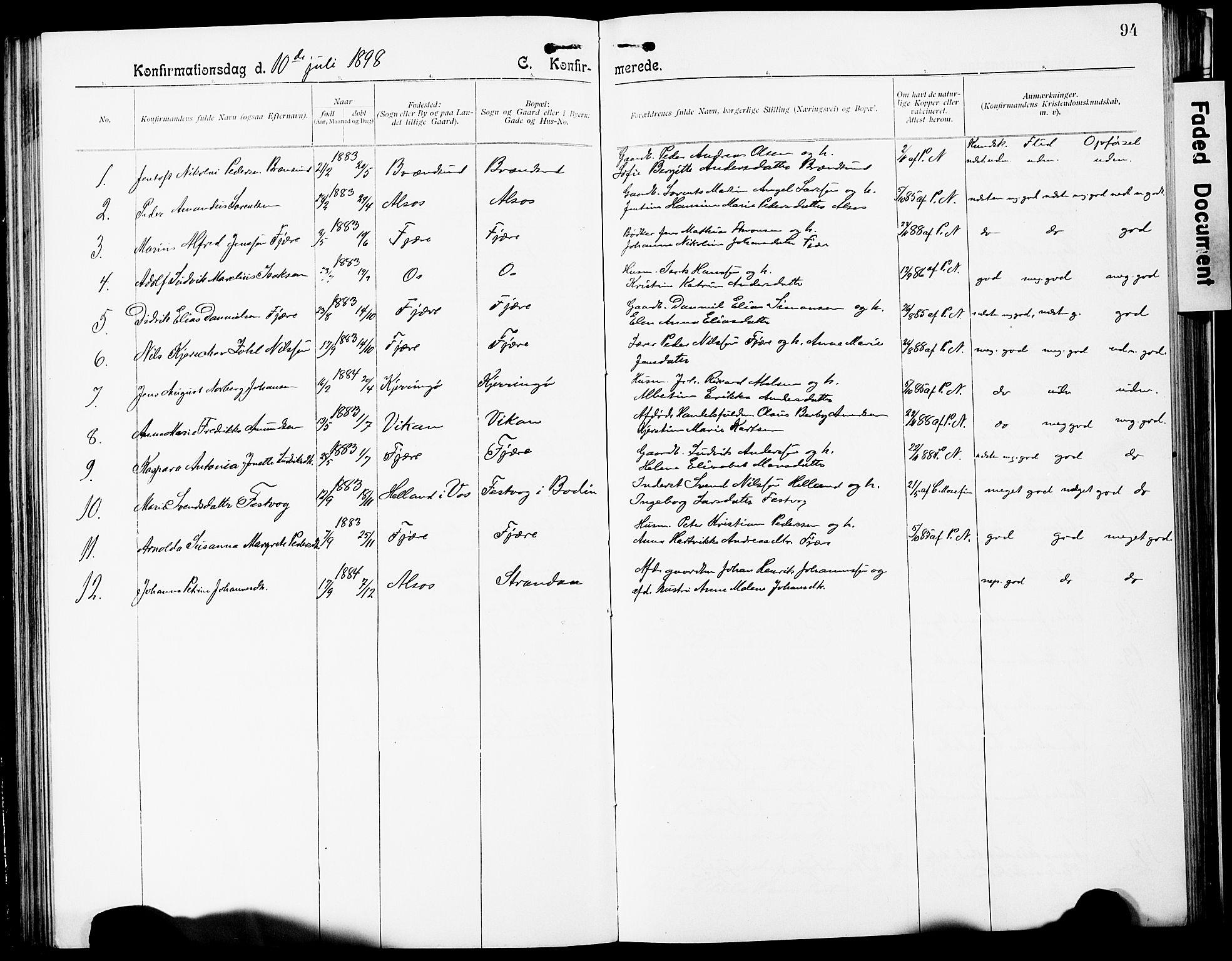 SAT, Ministerialprotokoller, klokkerbøker og fødselsregistre - Nordland, 803/L0077: Parish register (copy) no. 803C04, 1897-1930, p. 94