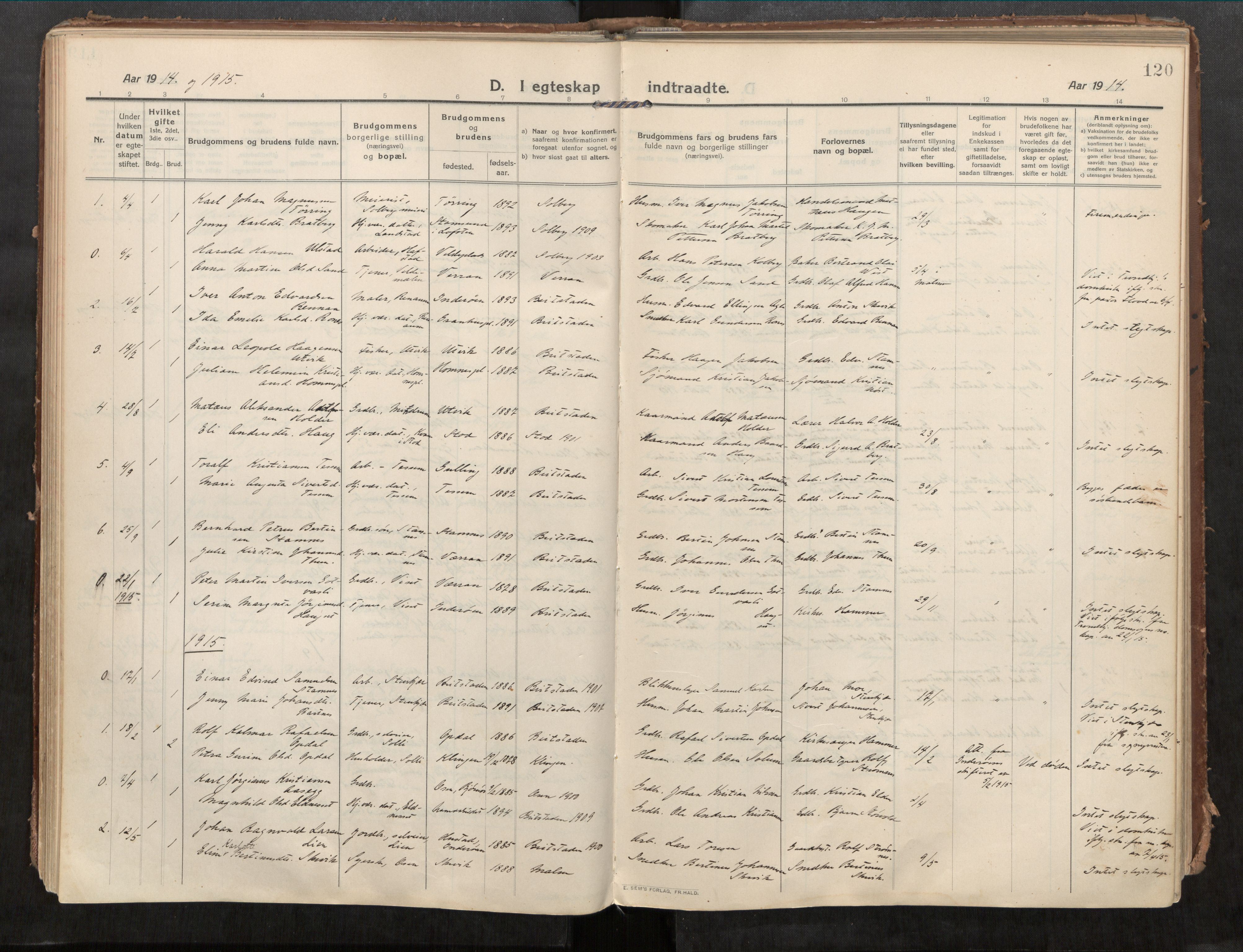 SAT, Beitstad sokneprestkontor, I/I1/I1a/L0001: Parish register (official) no. 1, 1912-1927, p. 120