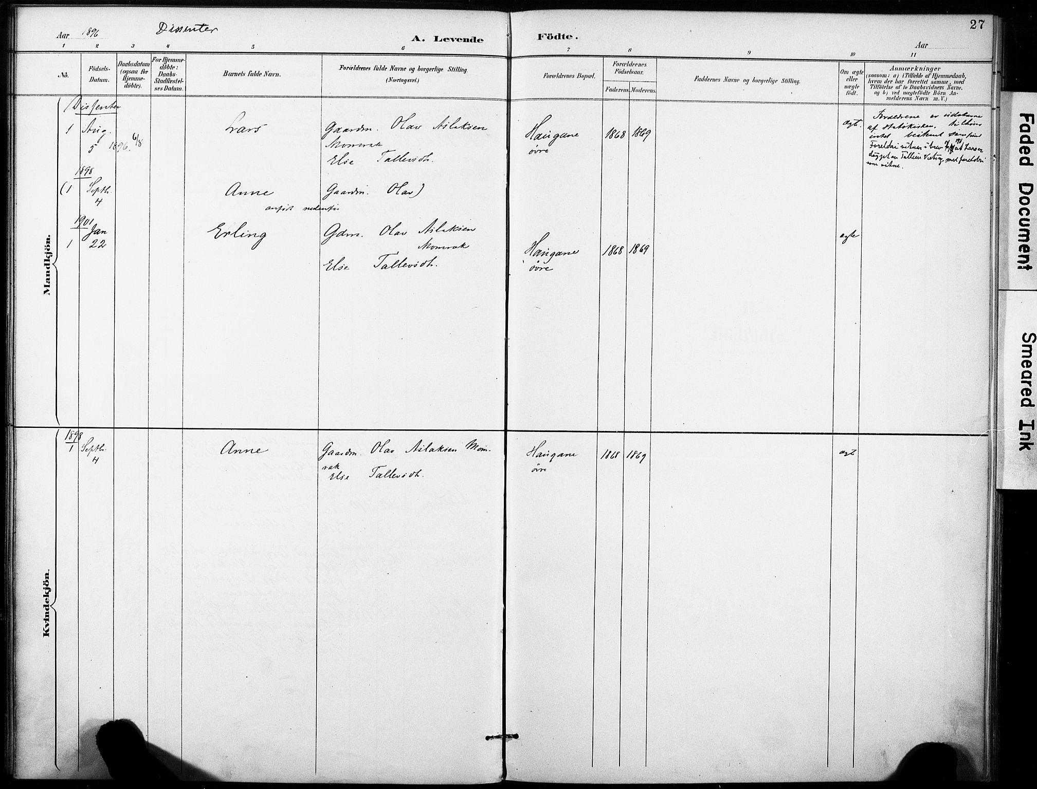 SAKO, Fyresdal kirkebøker, F/Fb/L0003: Parish register (official) no. II 3, 1887-1903, p. 27