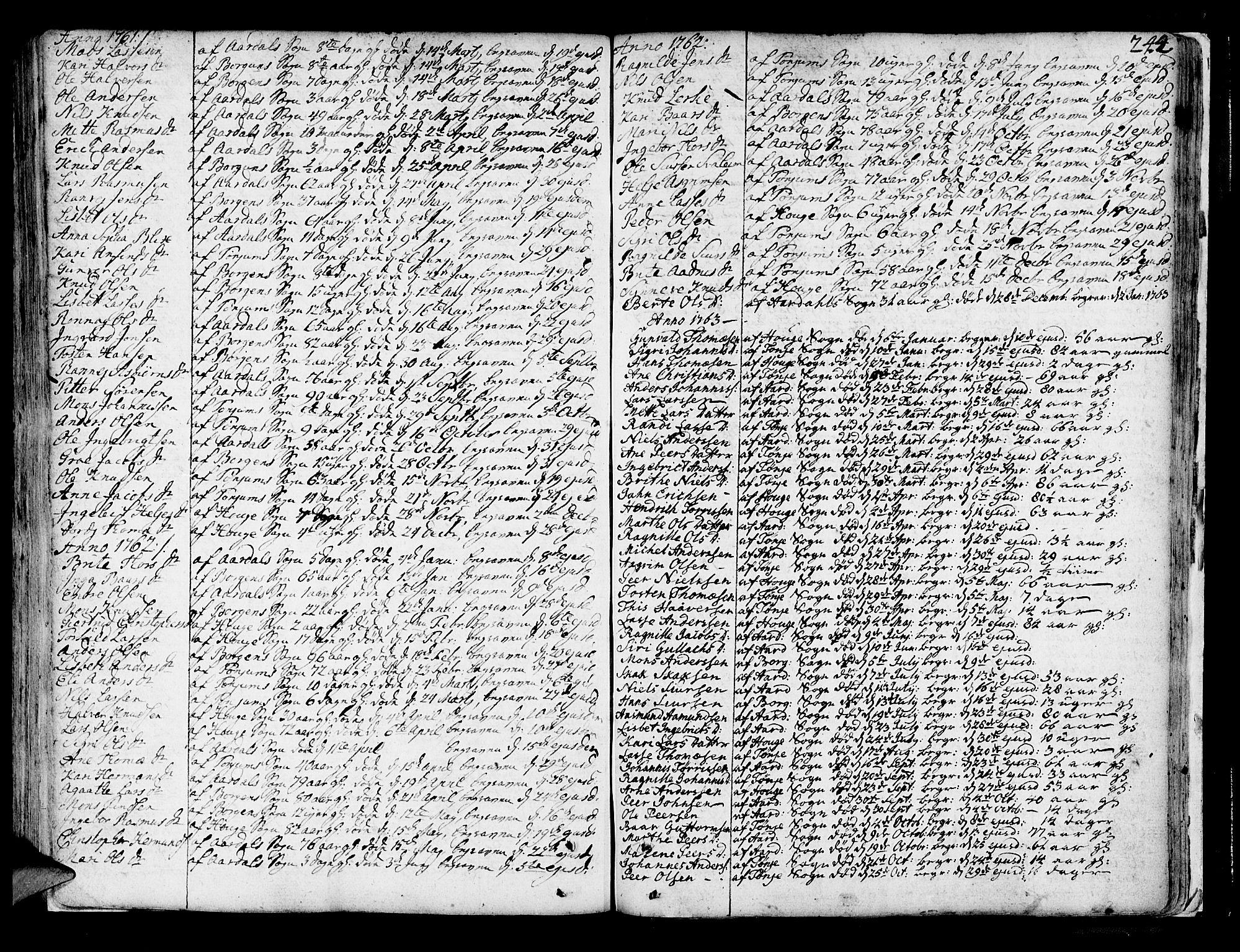 SAB, Lærdal sokneprestembete, Parish register (official) no. A 2, 1752-1782, p. 244