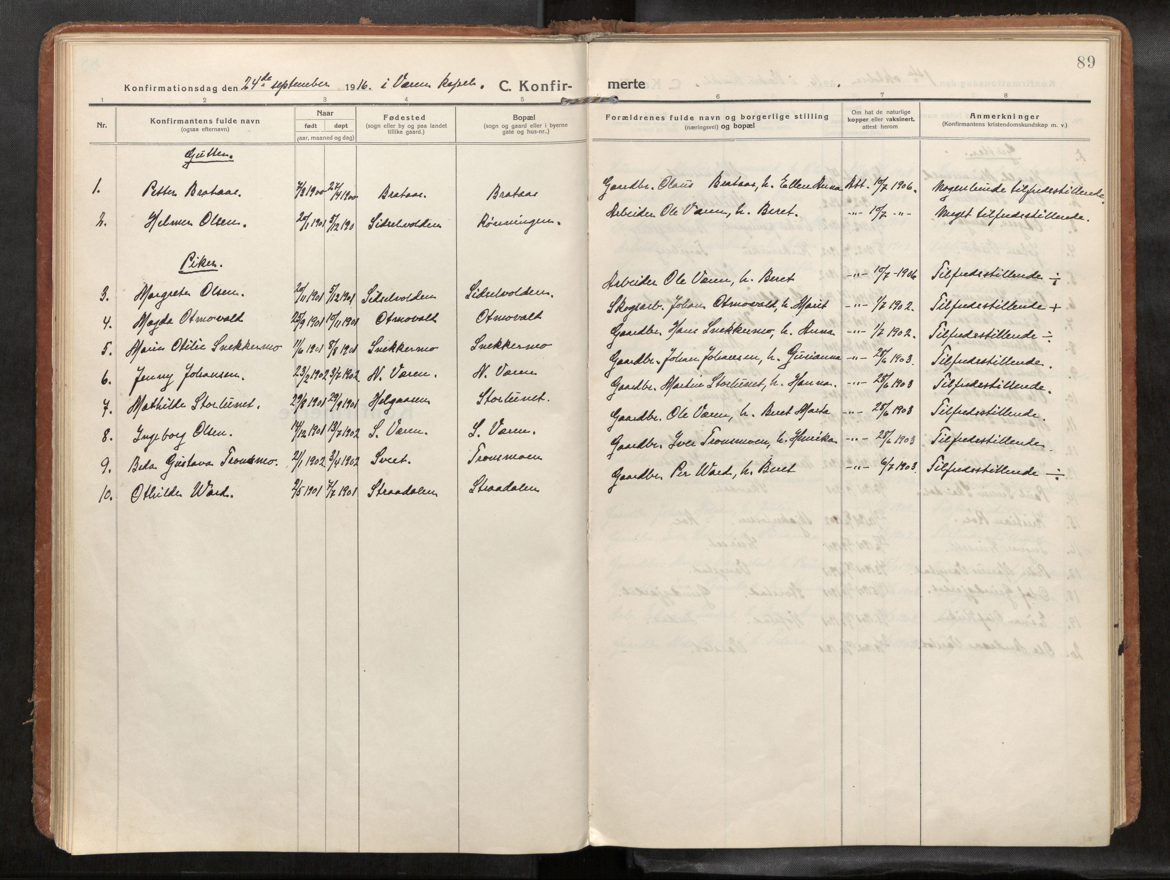 SAT, Verdal sokneprestkontor*, Parish register (official) no. 1, 1916-1928, p. 89