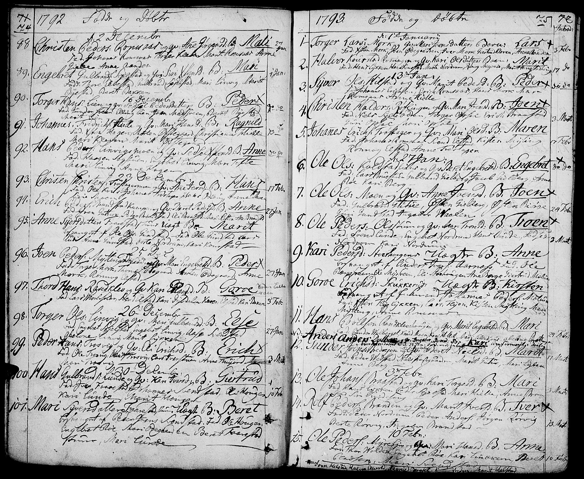 SAH, Ringebu prestekontor, Parish register (official) no. 3, 1781-1820, p. 74-75