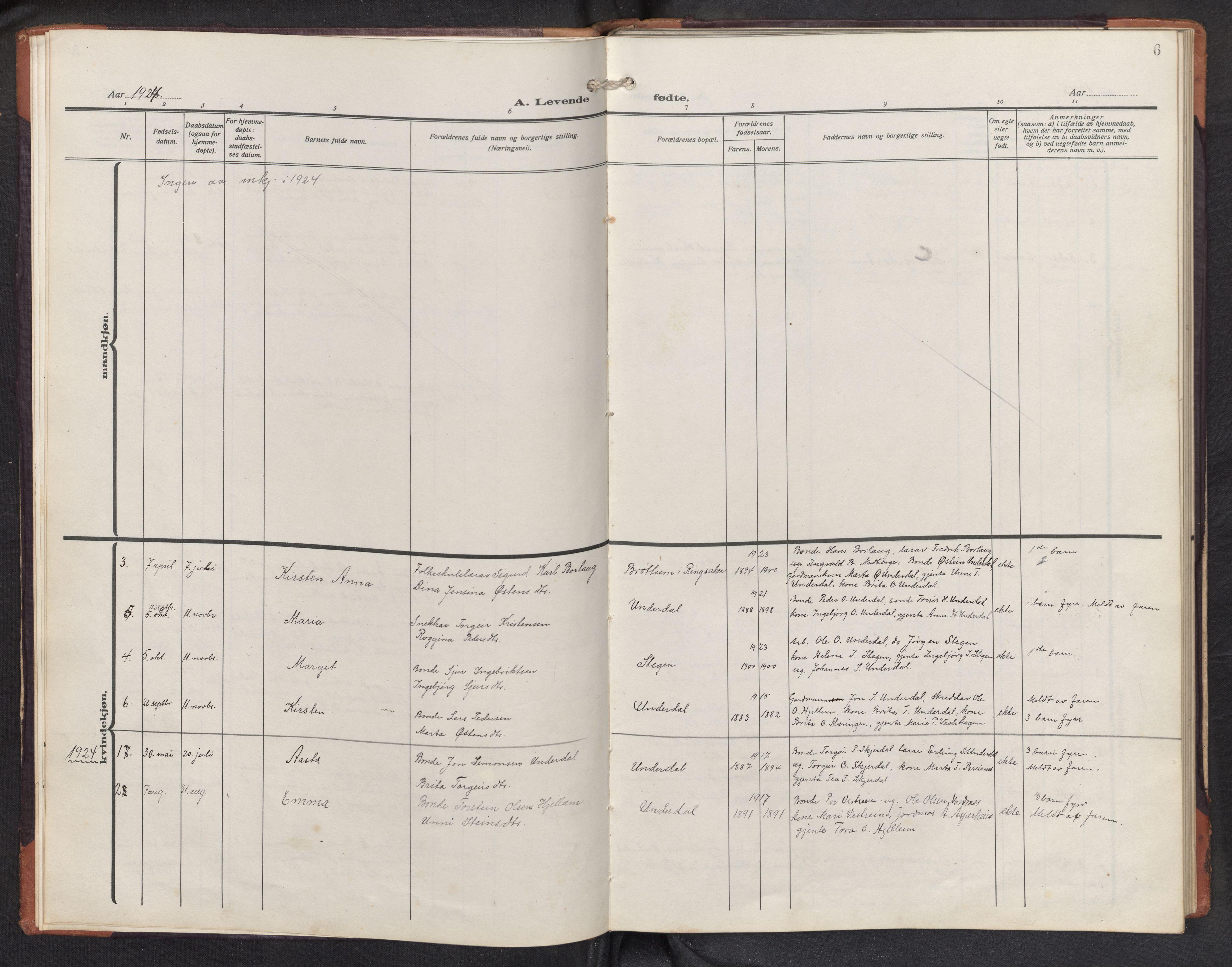SAB, Aurland sokneprestembete, H/Hb/Hbd/L0003: Parish register (copy) no. D 3, 1920-1968, p. 5b-6a
