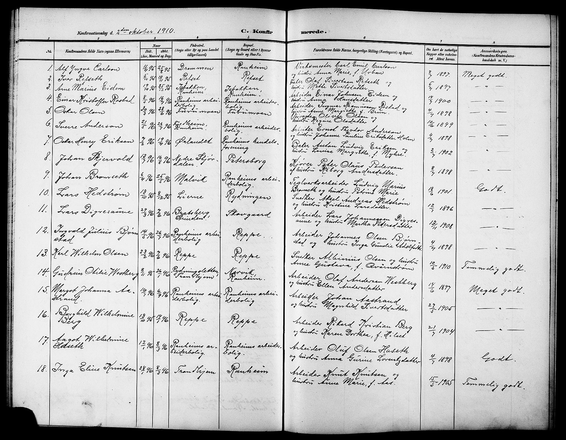 SAT, Ministerialprotokoller, klokkerbøker og fødselsregistre - Sør-Trøndelag, 615/L0400: Parish register (copy) no. 615C01, 1905-1921