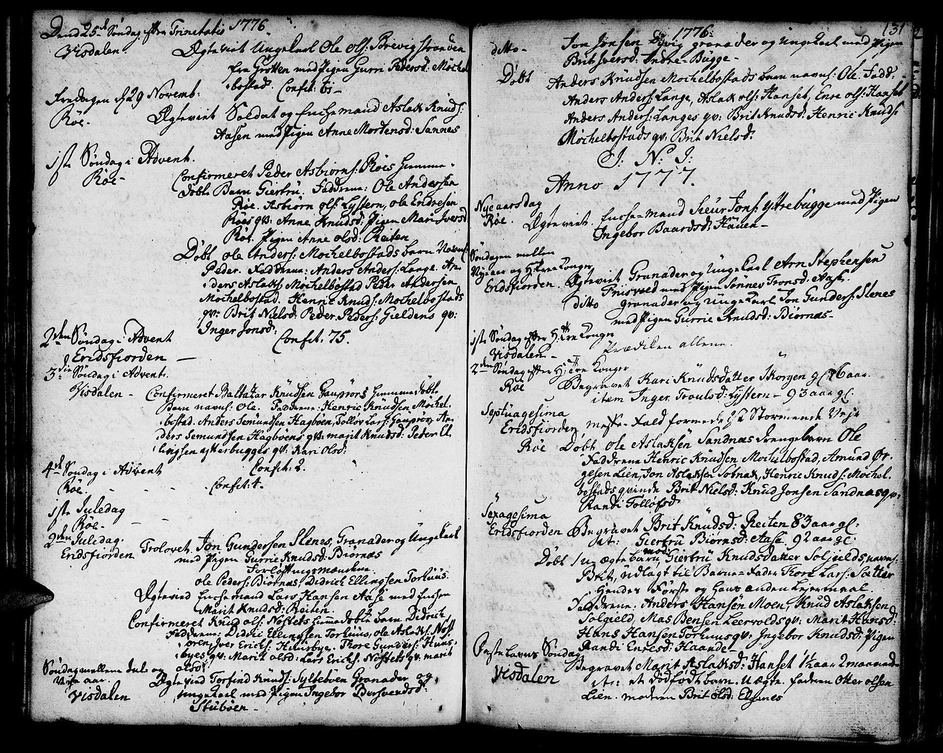 SAT, Ministerialprotokoller, klokkerbøker og fødselsregistre - Møre og Romsdal, 551/L0621: Parish register (official) no. 551A01, 1757-1803, p. 131