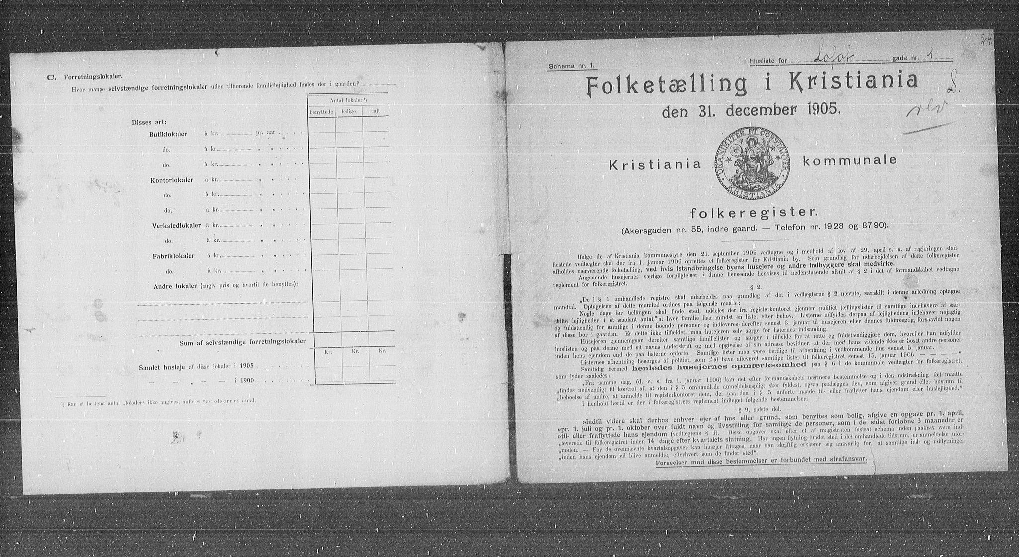 OBA, Municipal Census 1905 for Kristiania, 1905, p. 30668