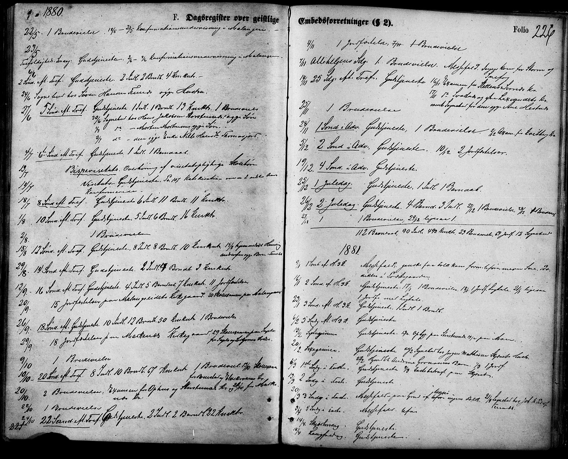 SATØ, Balsfjord sokneprestembete, Parish register (official) no. 4, 1871-1883, p. 226