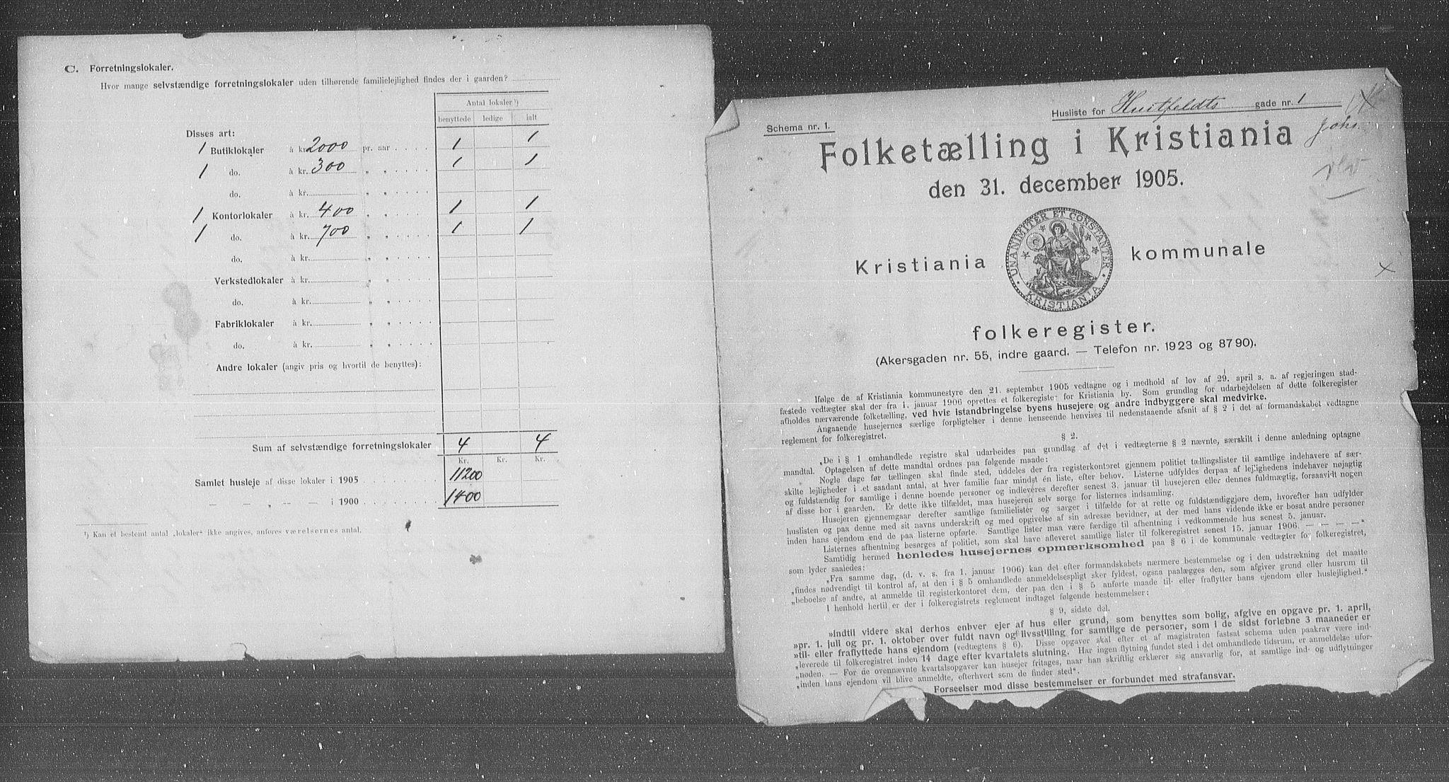 OBA, Municipal Census 1905 for Kristiania, 1905, p. 21575