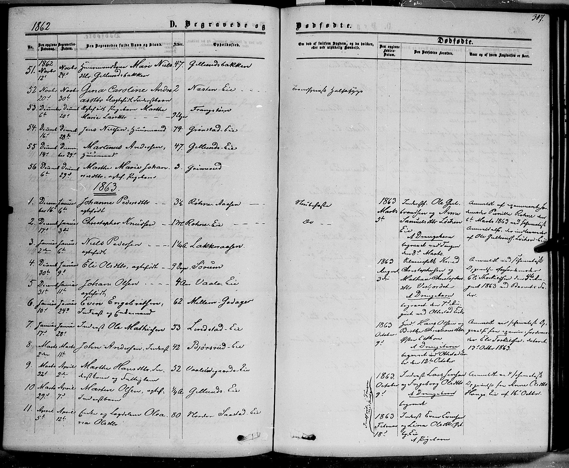 SAH, Stange prestekontor, K/L0013: Parish register (official) no. 13, 1862-1879, p. 307