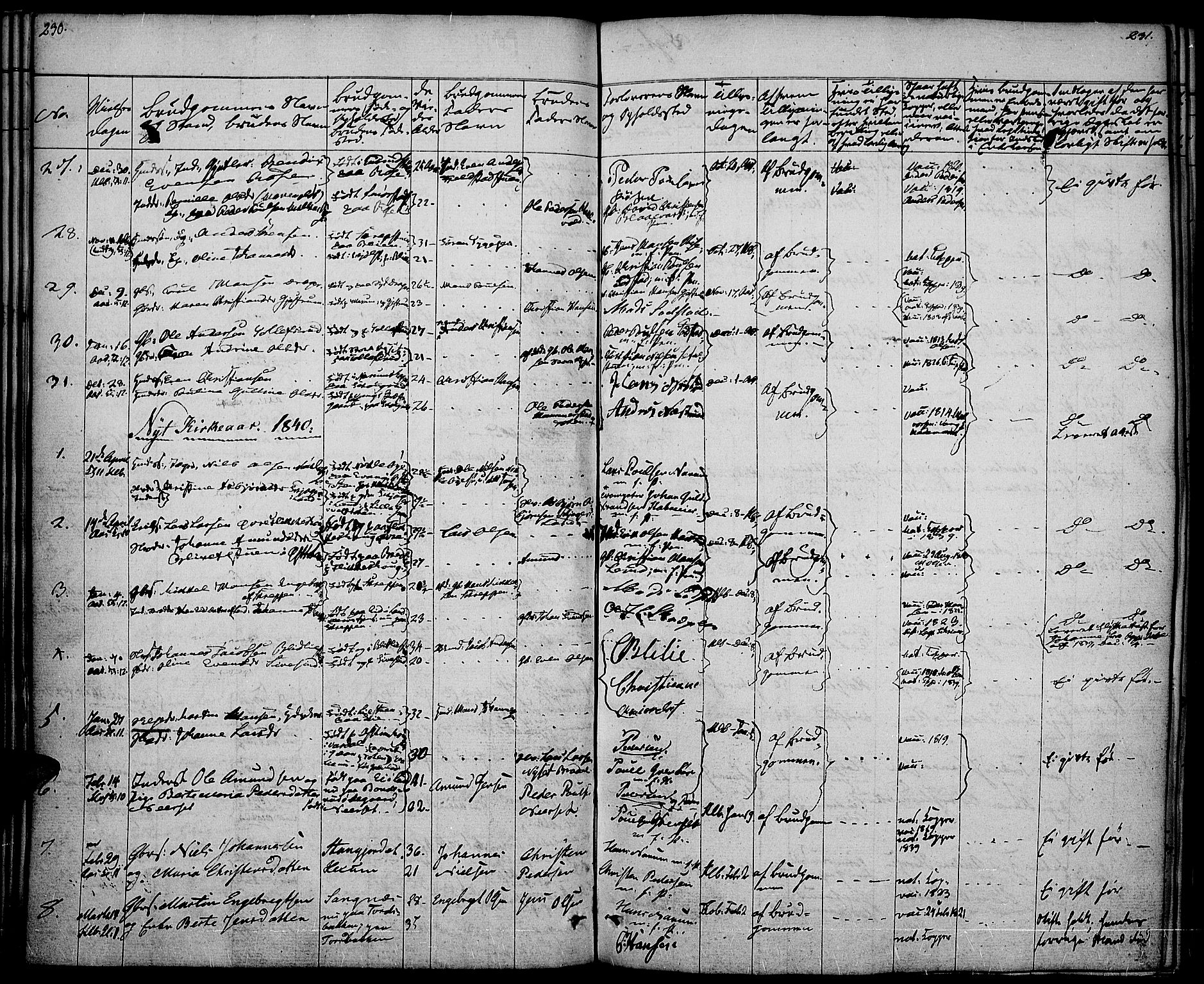 SAH, Vestre Toten prestekontor, H/Ha/Haa/L0003: Parish register (official) no. 3, 1836-1843, p. 230-231