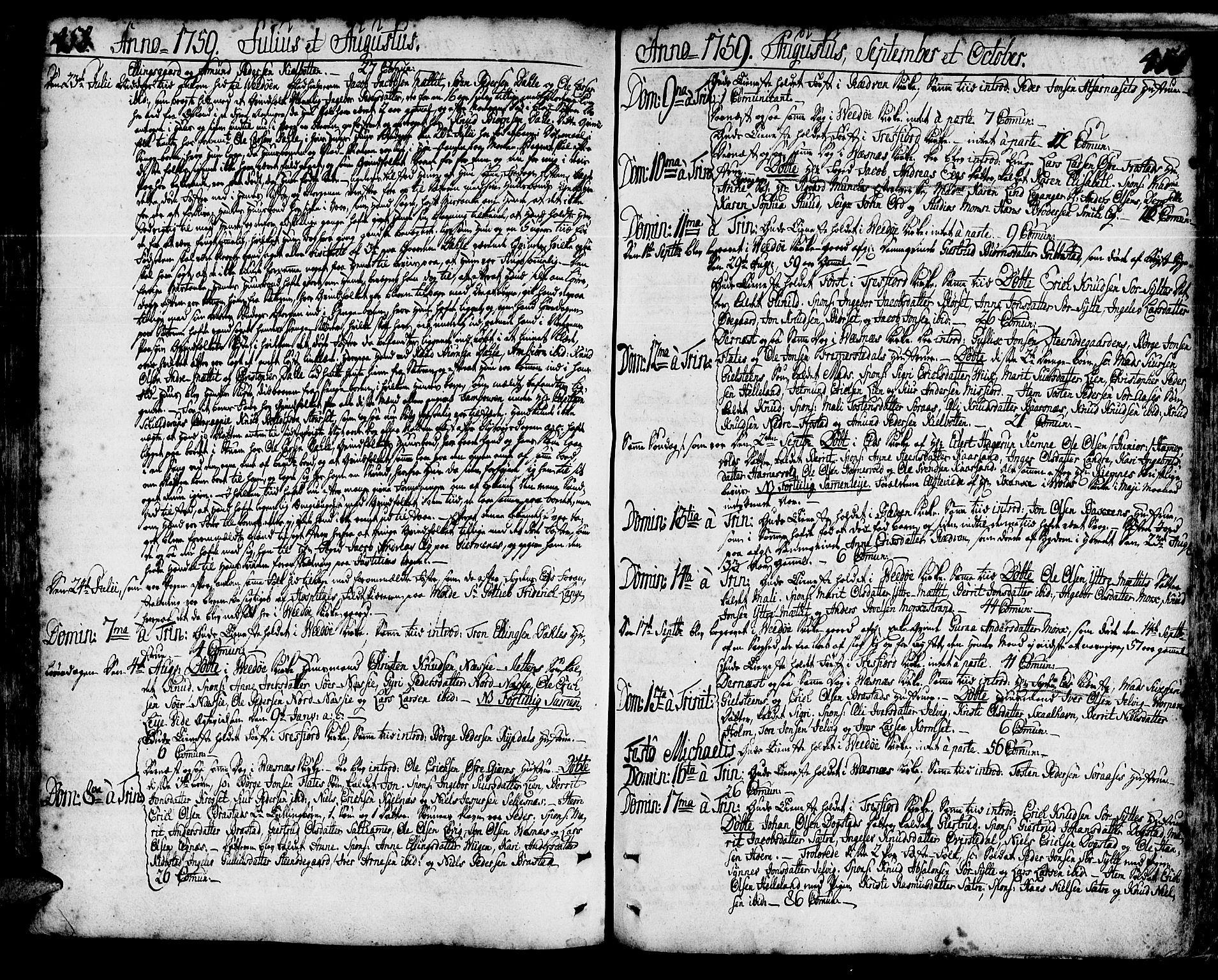 SAT, Ministerialprotokoller, klokkerbøker og fødselsregistre - Møre og Romsdal, 547/L0599: Parish register (official) no. 547A01, 1721-1764, p. 458-459
