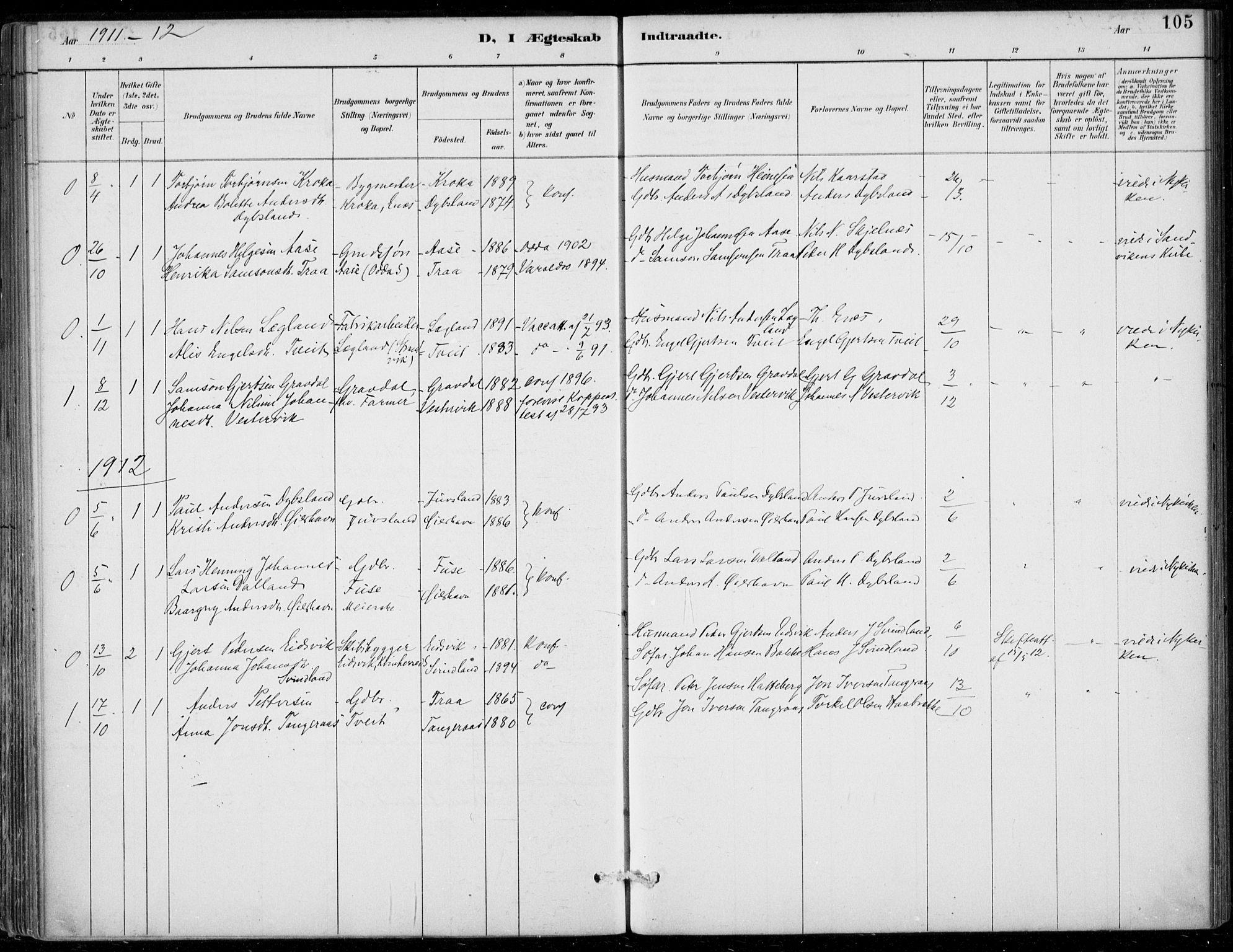 SAB, Strandebarm sokneprestembete, H/Haa: Parish register (official) no. D  1, 1886-1912, p. 105