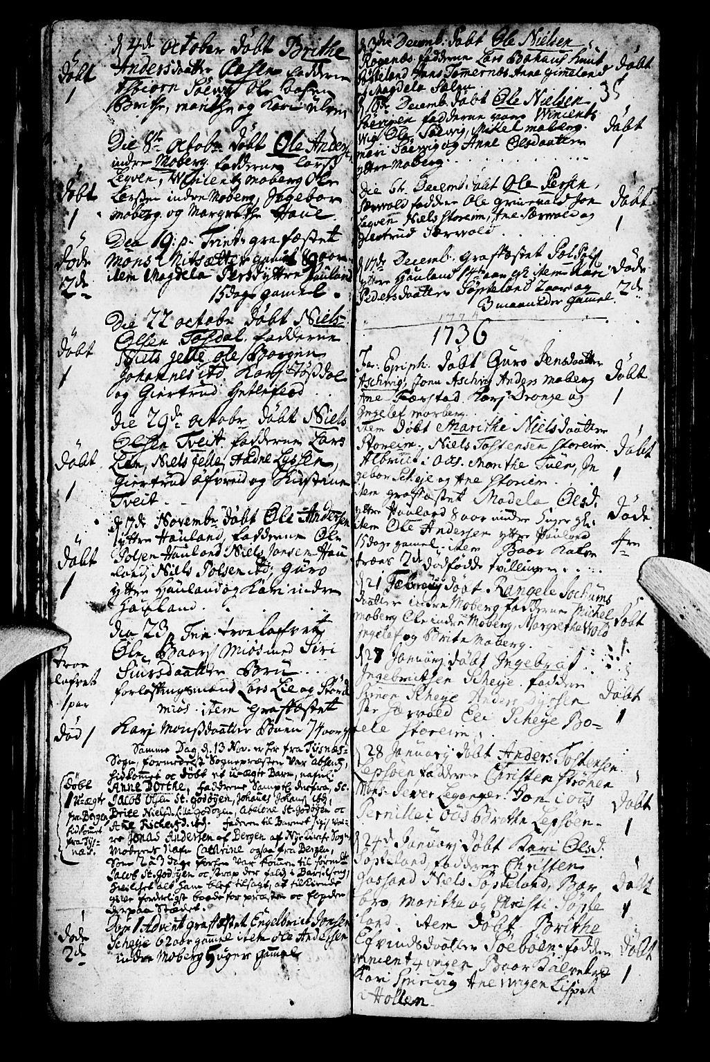SAB, Os sokneprestembete*, Parish register (official) no. A 2, 1723-1758, p. 35