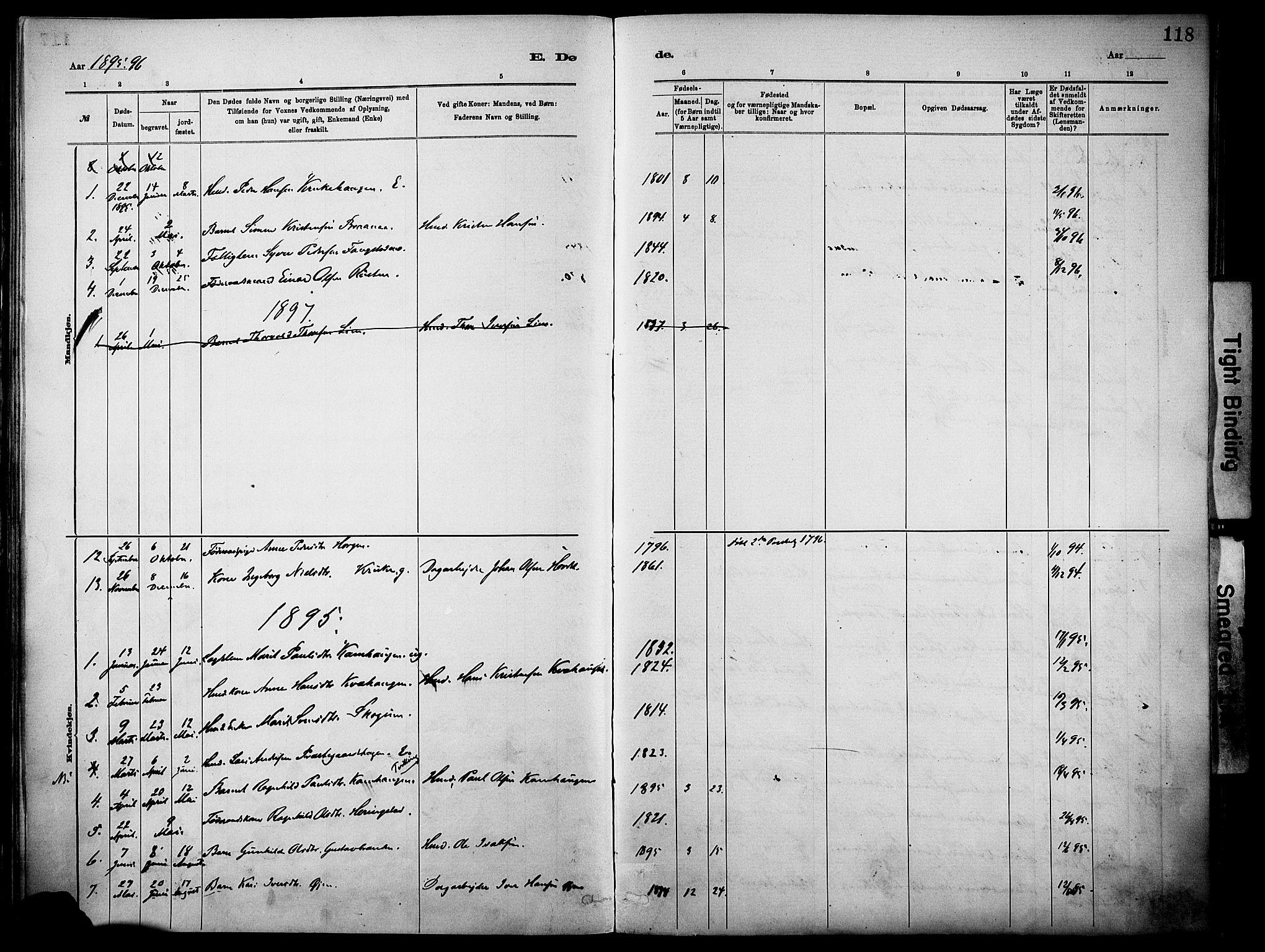 SAH, Vågå prestekontor, Parish register (official) no. 10, 1887-1904, p. 118