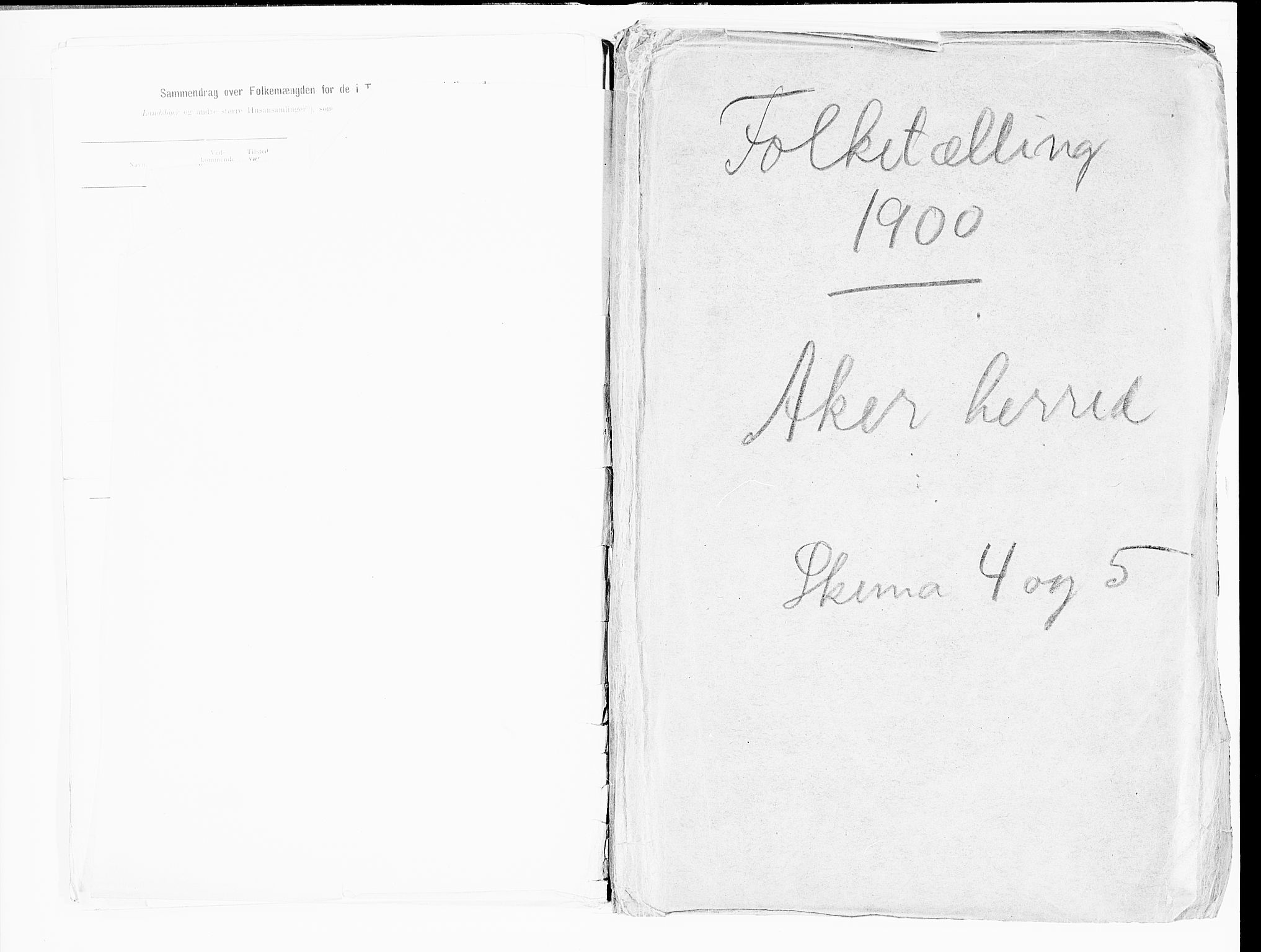 SAO, 1900 census for Aker, 1900, p. 1