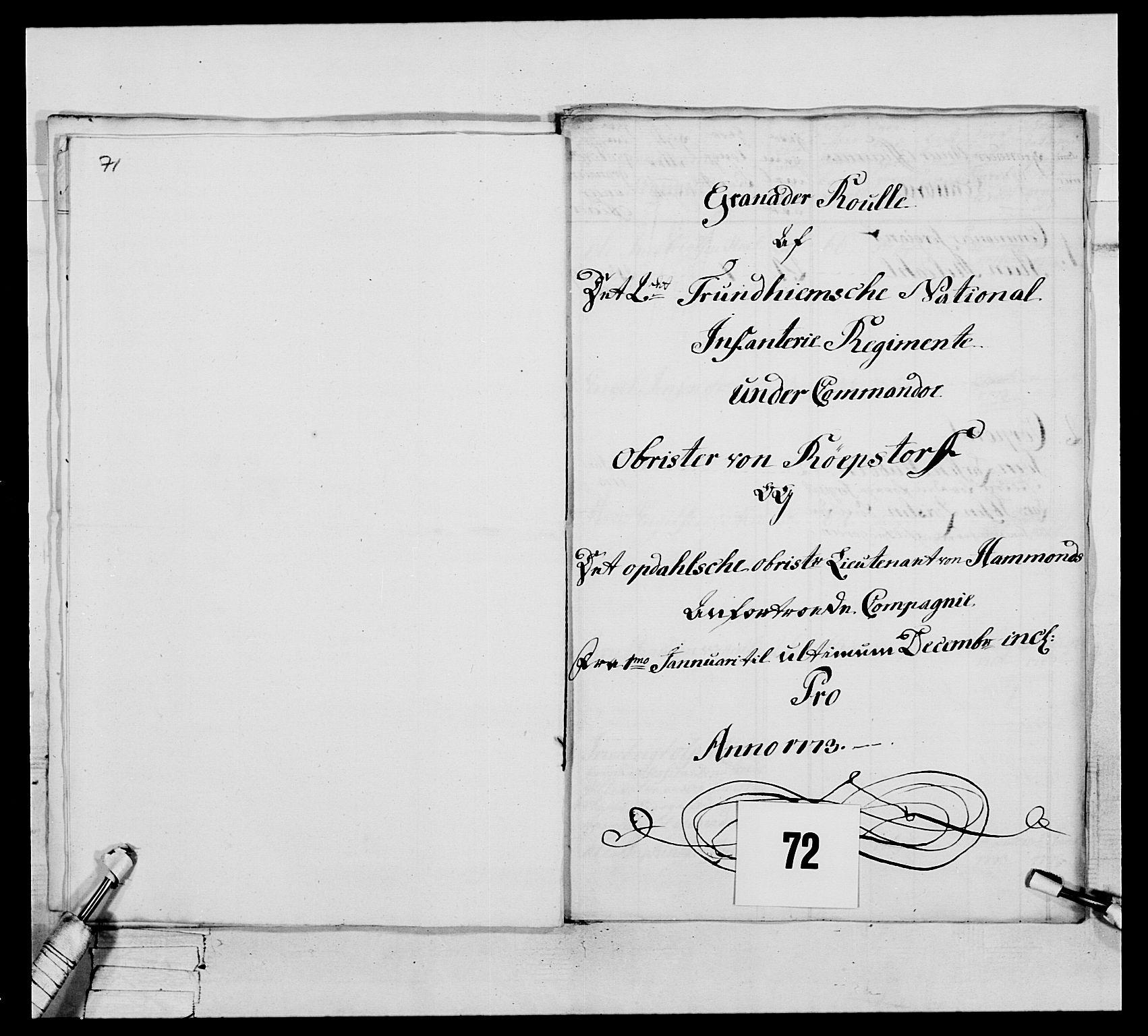 RA, Generalitets- og kommissariatskollegiet, Det kongelige norske kommissariatskollegium, E/Eh/L0076: 2. Trondheimske nasjonale infanteriregiment, 1766-1773, p. 315