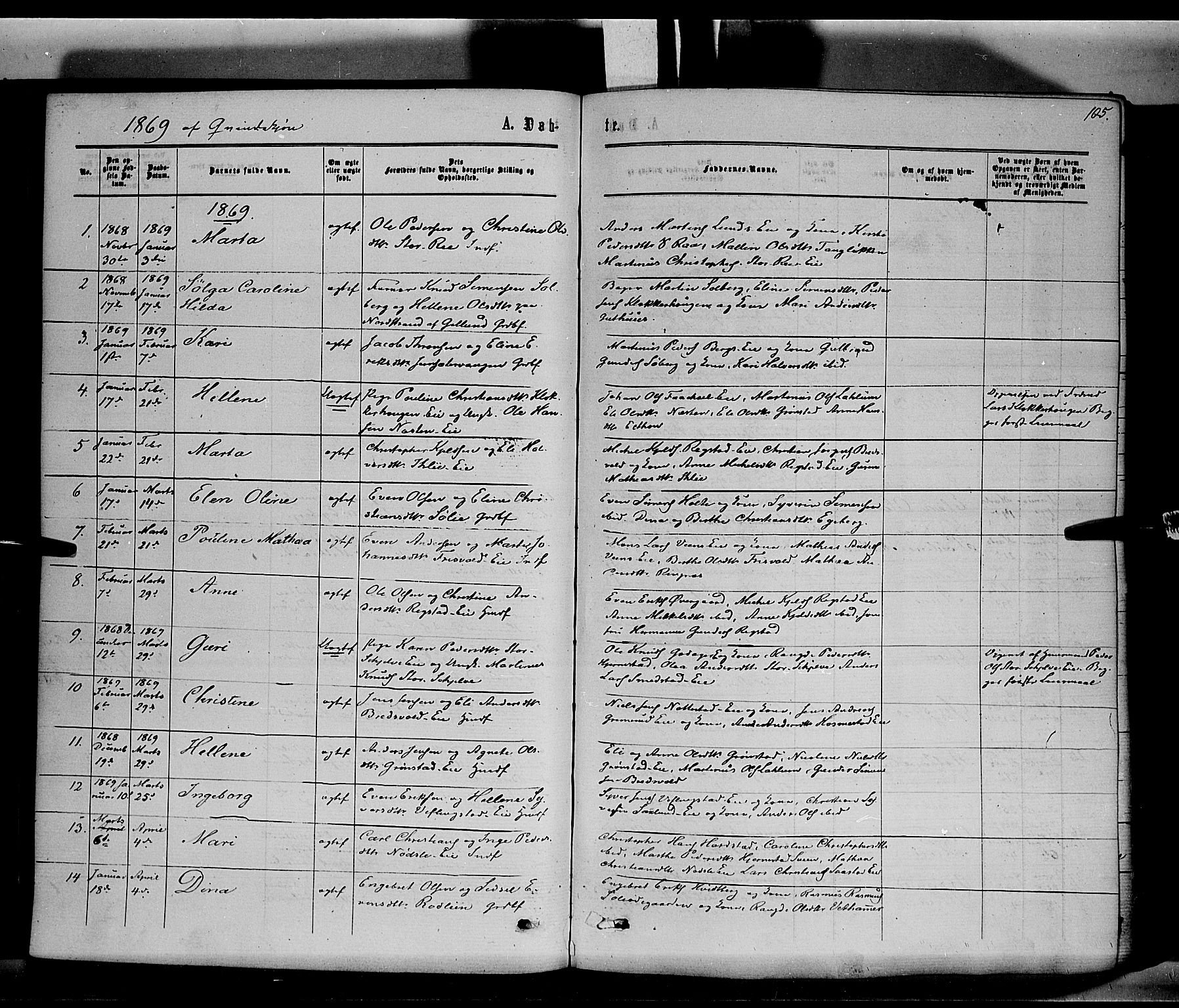 SAH, Stange prestekontor, K/L0013: Parish register (official) no. 13, 1862-1879, p. 105