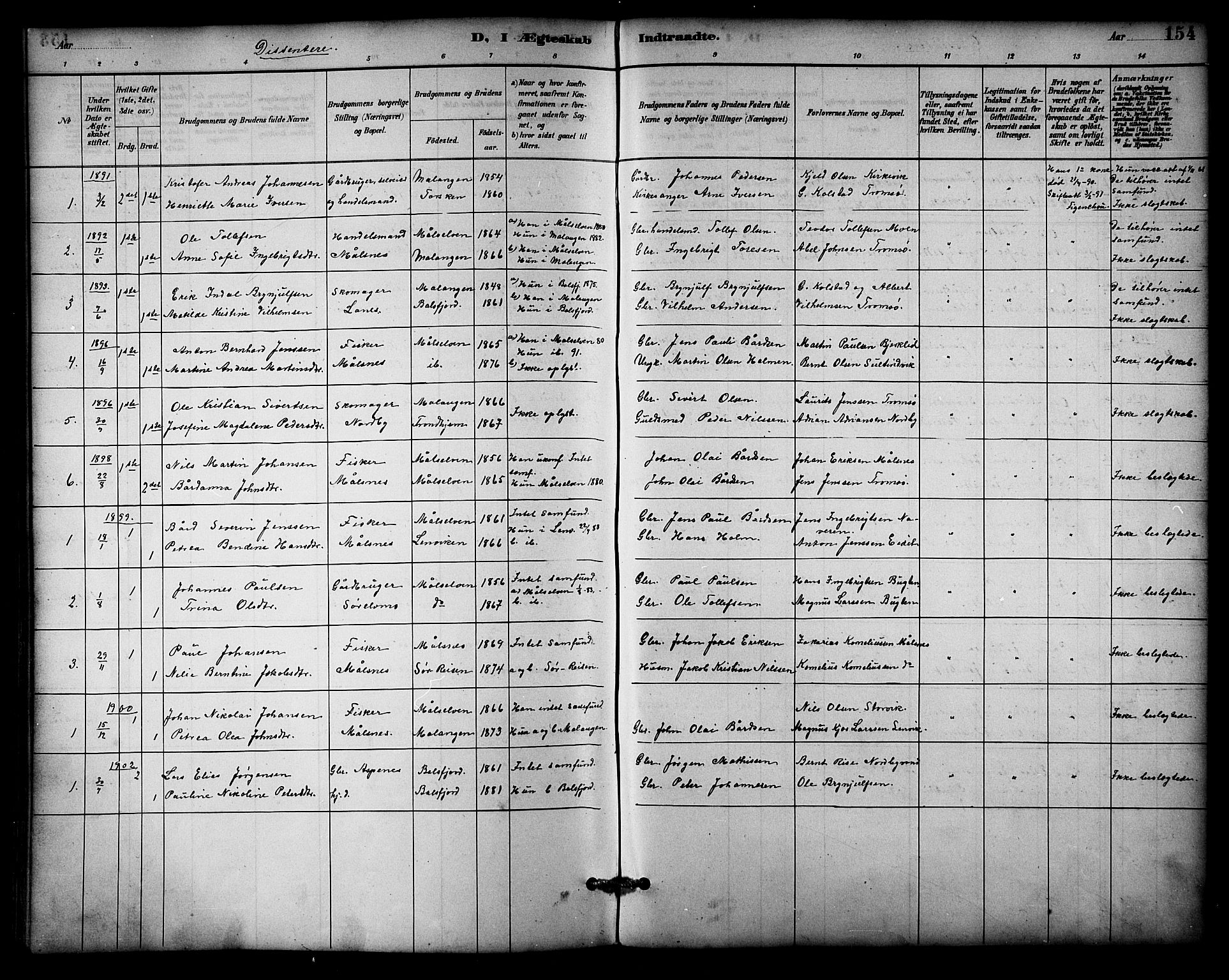SATØ, Balsfjord sokneprestembete, Parish register (copy) no. 3, 1887-1909, p. 154