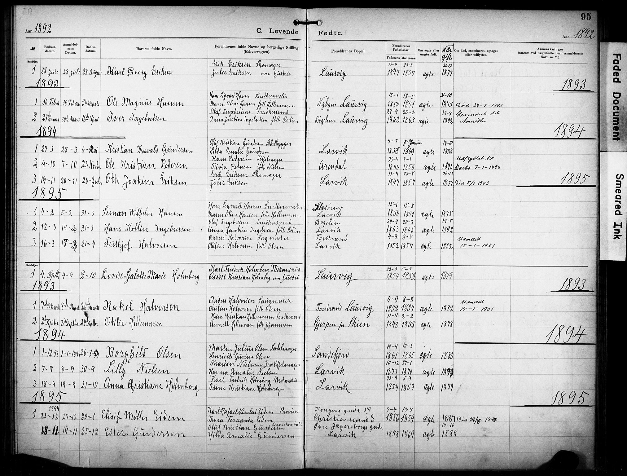 SAKO, Den katolsk-apostoliske menighet i Larvik, F/Fa/L0001: Dissenter register no. 1, 1892-1933, p. 95