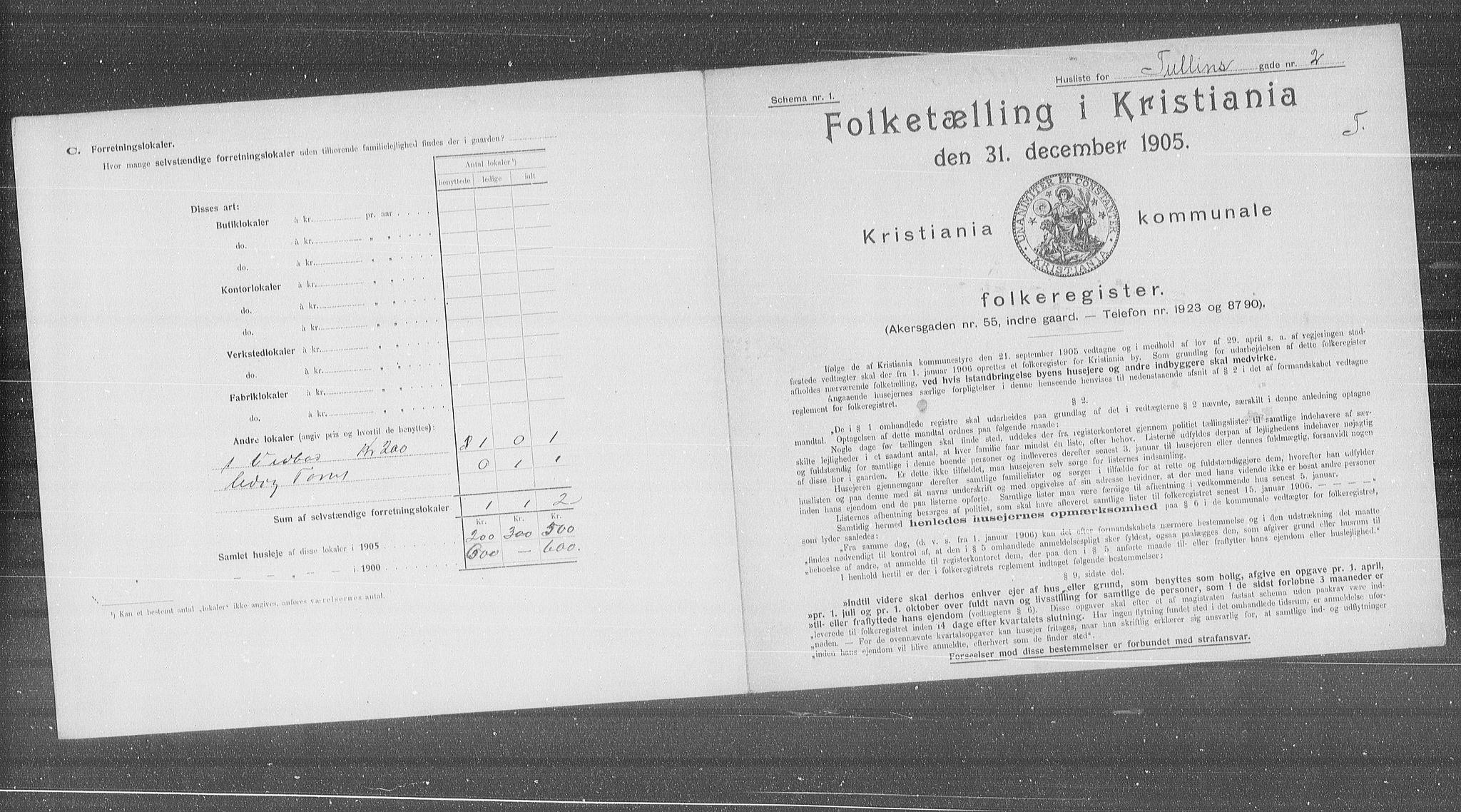 OBA, Municipal Census 1905 for Kristiania, 1905, p. 61623