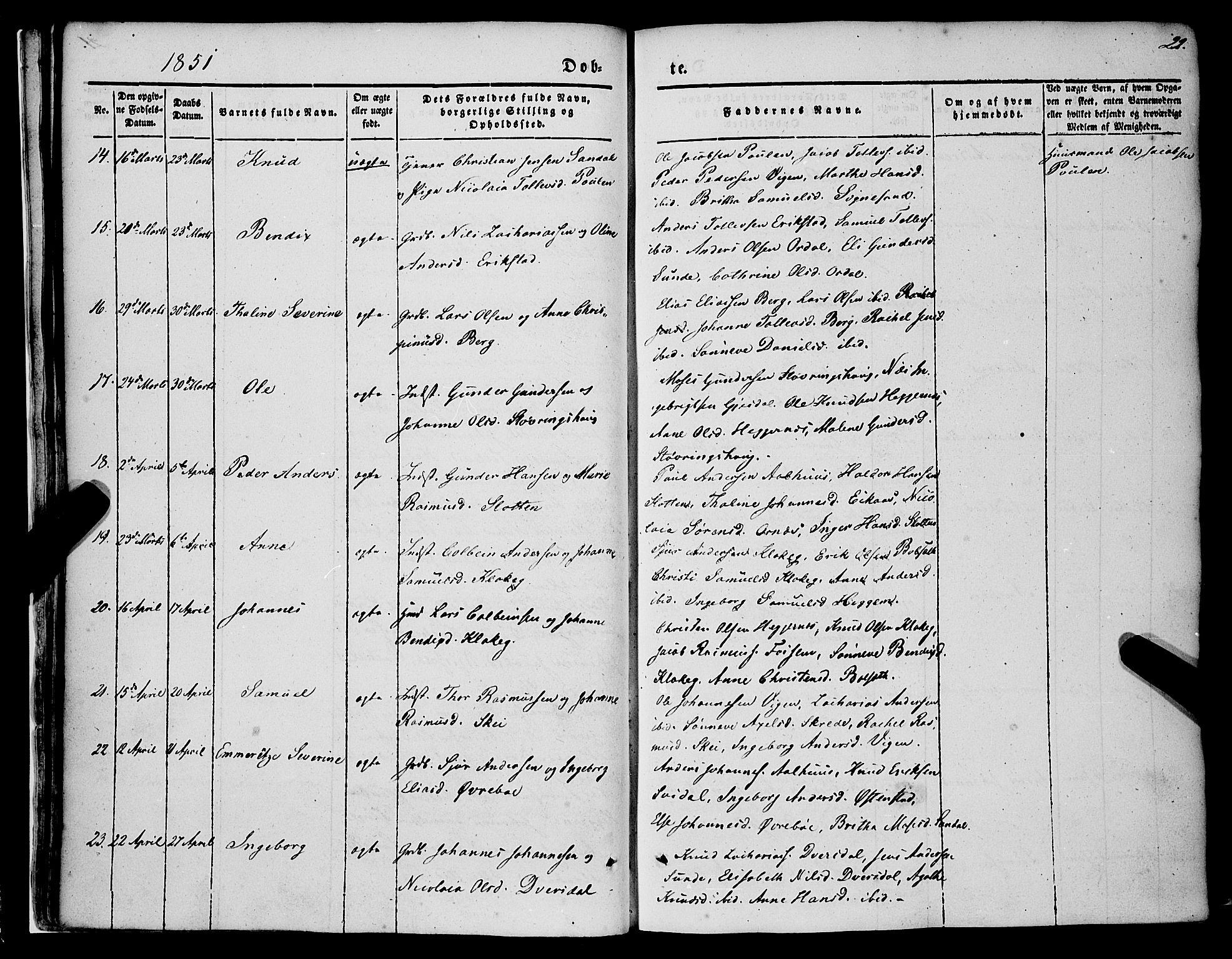 SAB, Jølster Sokneprestembete, H/Haa/Haaa/L0010: Parish register (official) no. A 10, 1847-1865, p. 22