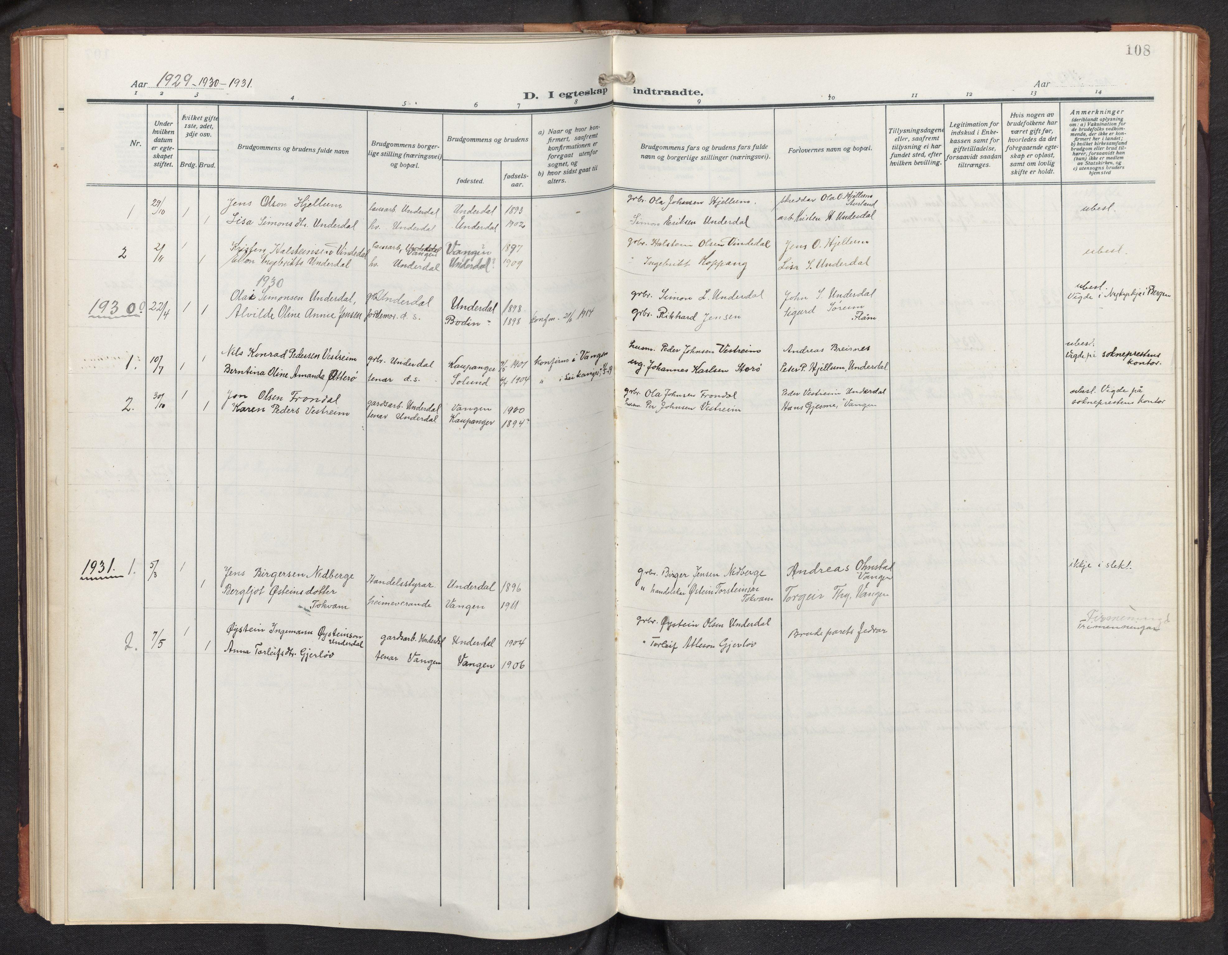 SAB, Aurland sokneprestembete, H/Hb/Hbd/L0003: Parish register (copy) no. D 3, 1920-1968, p. 107b-108a