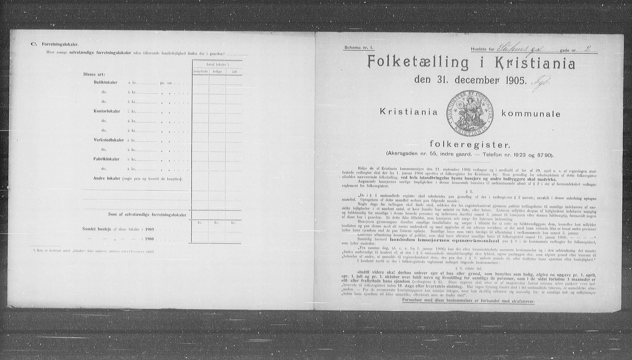 OBA, Municipal Census 1905 for Kristiania, 1905, p. 54759