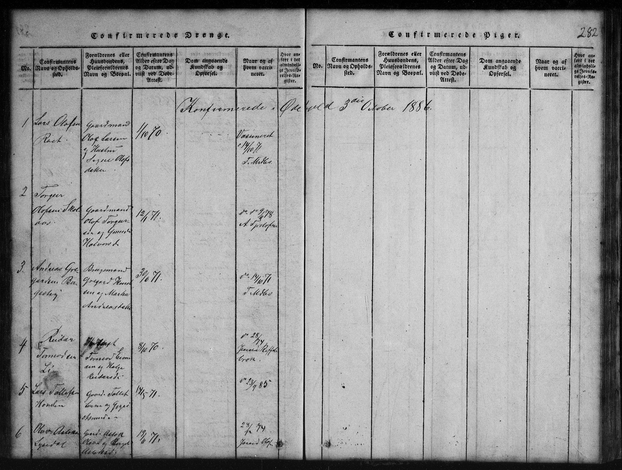 SAKO, Rauland kirkebøker, G/Gb/L0001: Parish register (copy) no. II 1, 1815-1886, p. 282