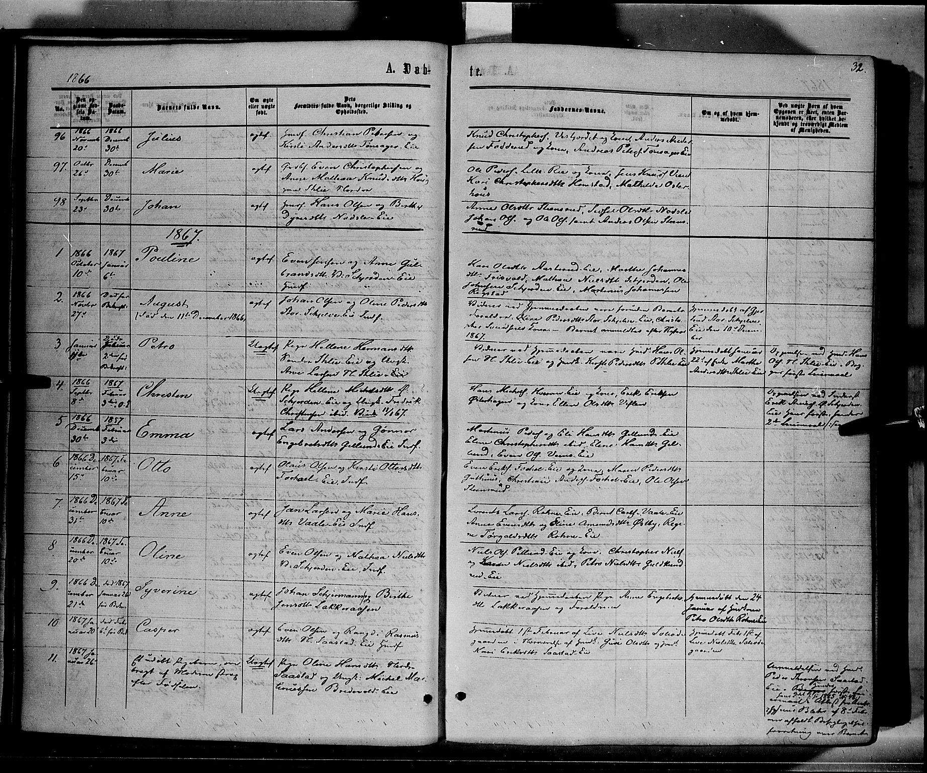 SAH, Stange prestekontor, K/L0013: Parish register (official) no. 13, 1862-1879, p. 32