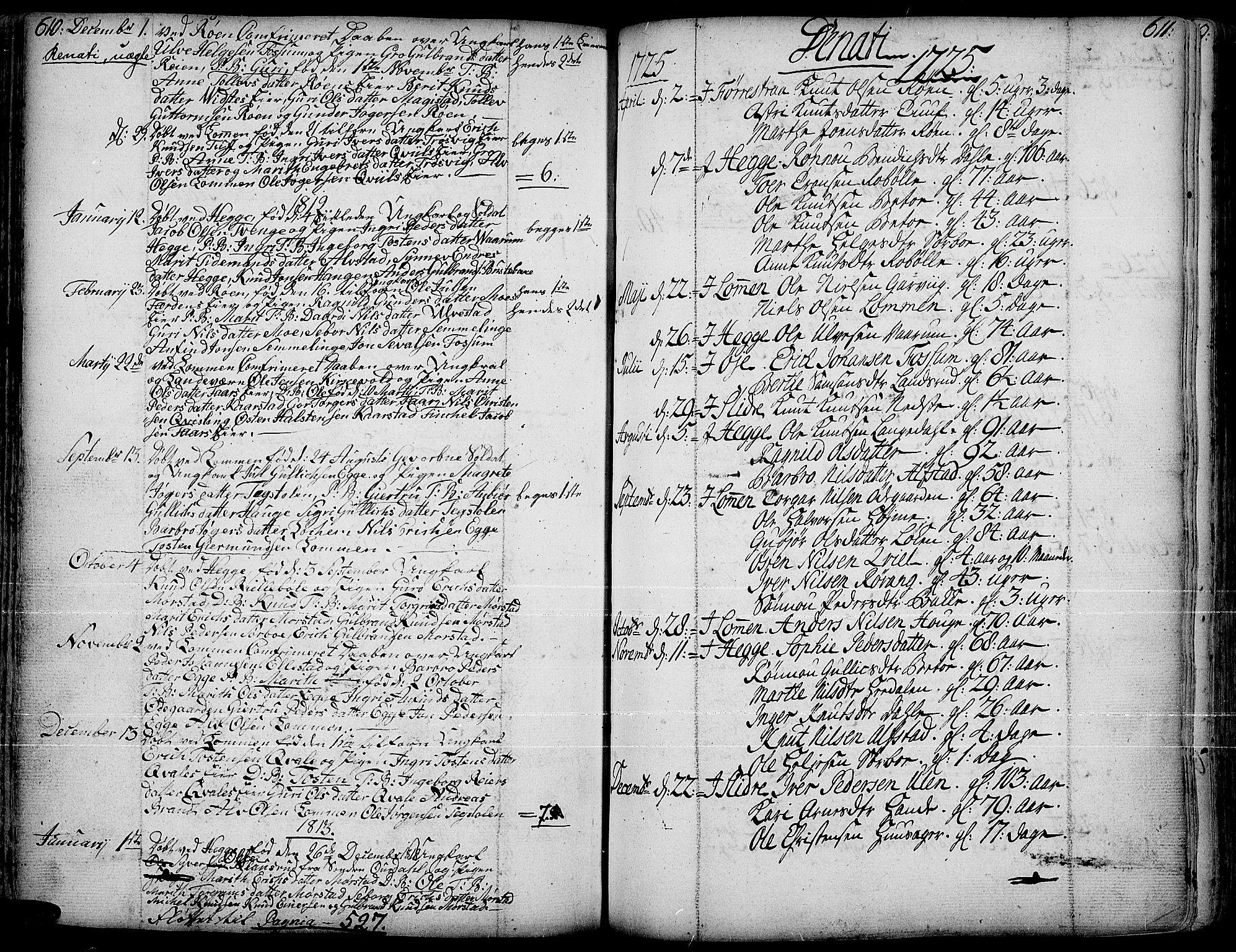 SAH, Slidre prestekontor, Parish register (official) no. 1, 1724-1814, p. 610-611