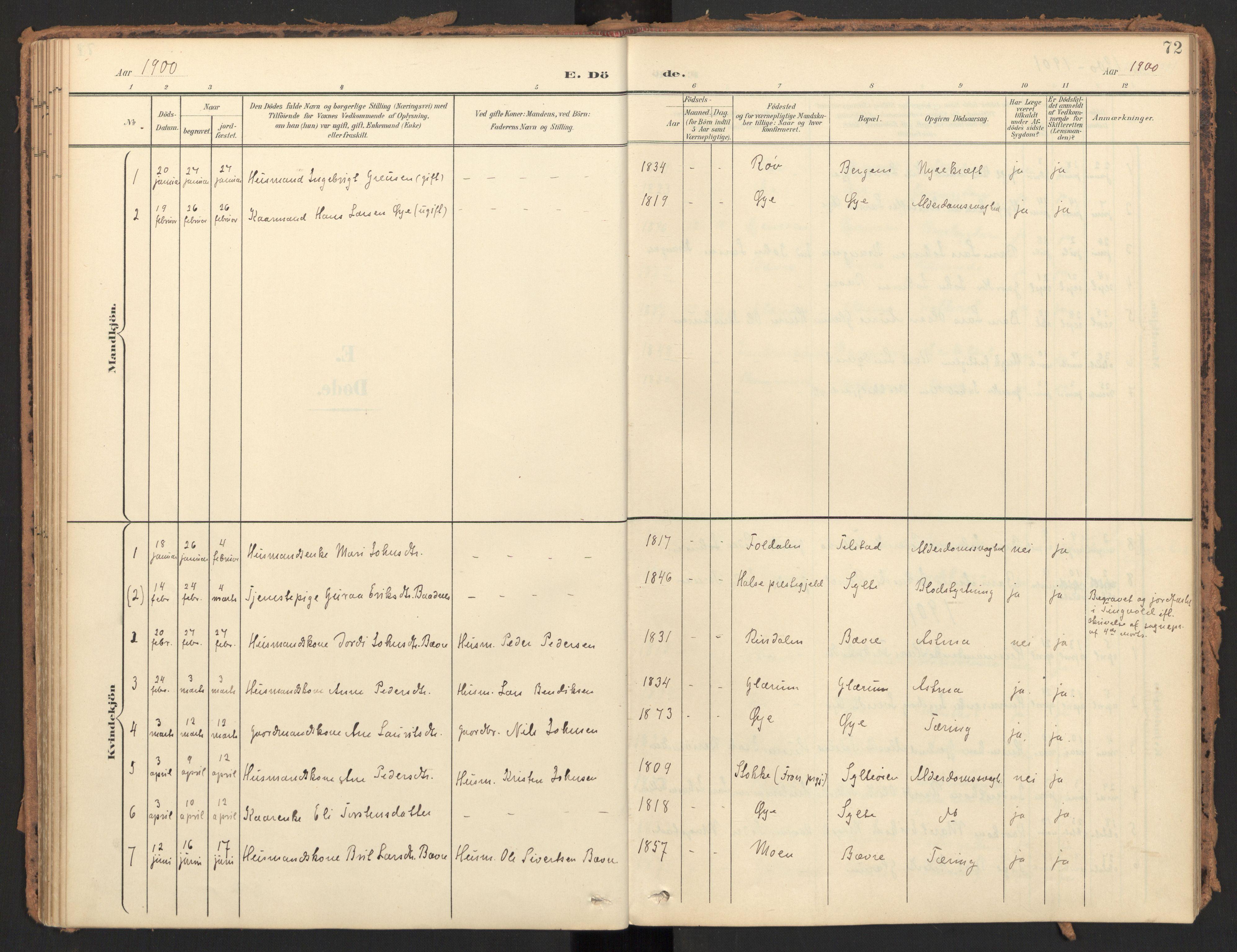 SAT, Ministerialprotokoller, klokkerbøker og fødselsregistre - Møre og Romsdal, 595/L1048: Parish register (official) no. 595A10, 1900-1917, p. 72
