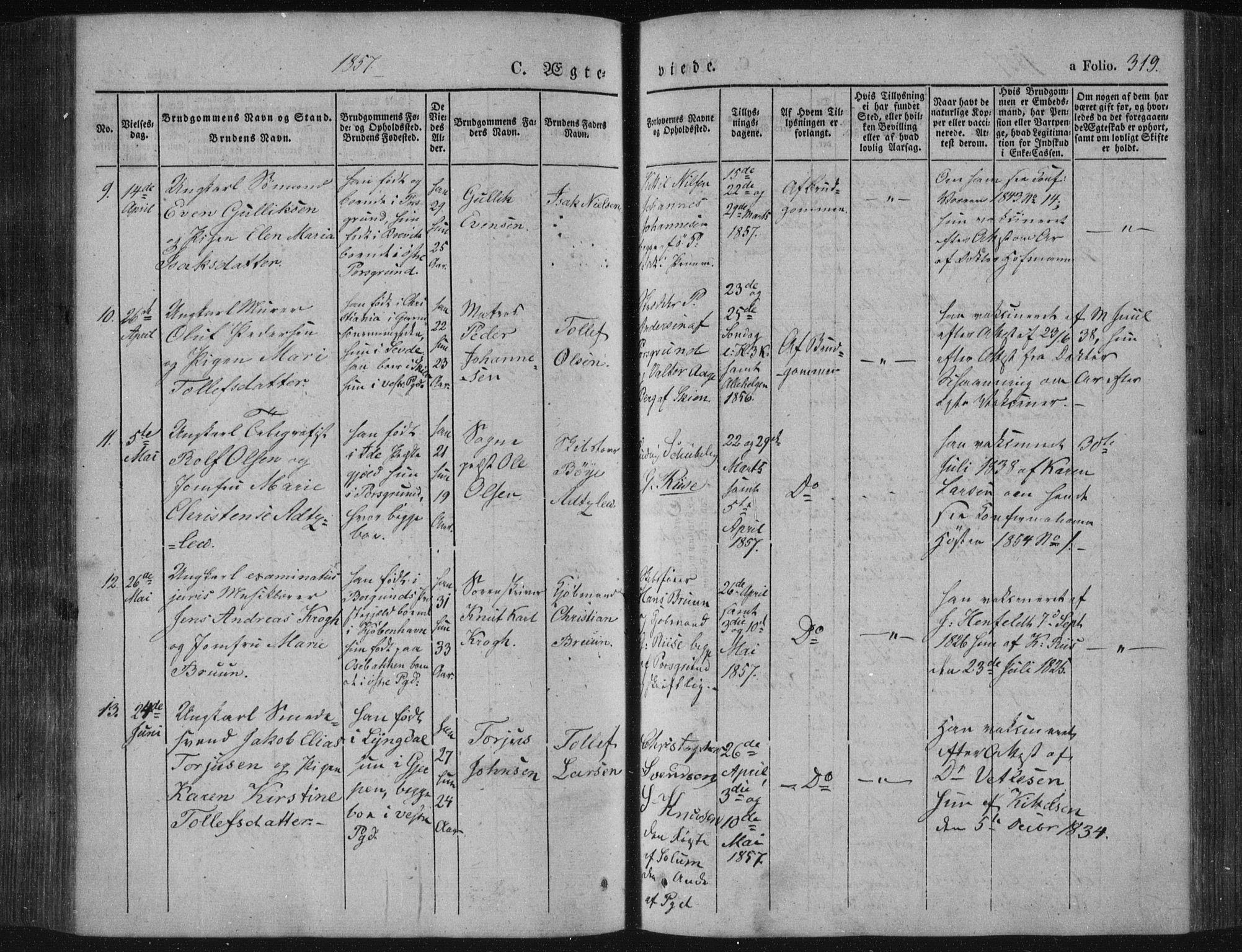 SAKO, Porsgrunn kirkebøker , F/Fa/L0006: Parish register (official) no. 6, 1841-1857, p. 319