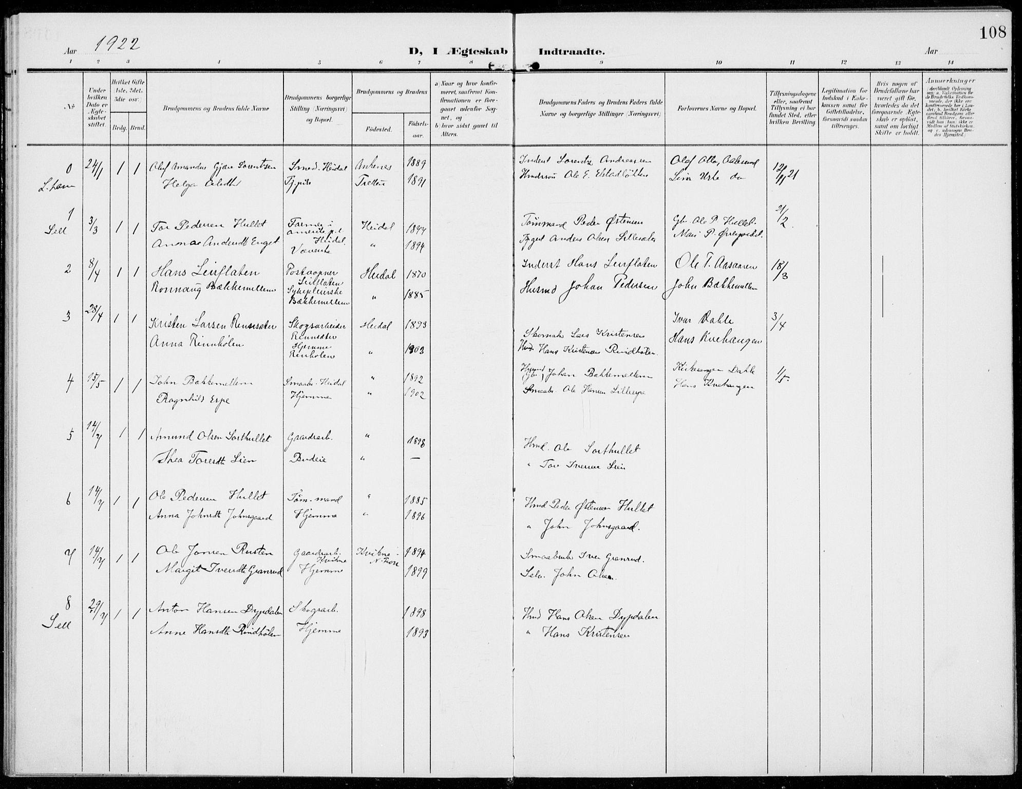 SAH, Sel prestekontor, Parish register (official) no. 1, 1905-1922, p. 108