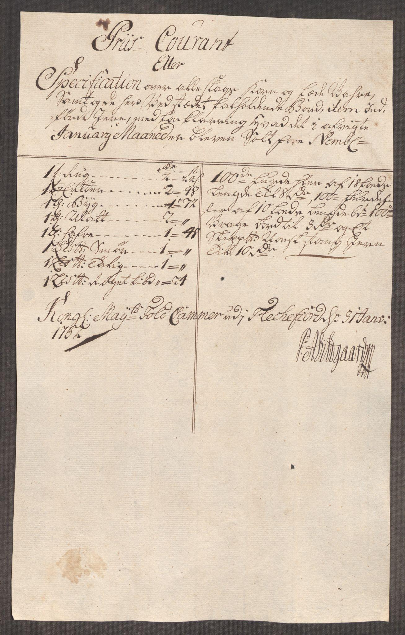 RA, Rentekammeret inntil 1814, Realistisk ordnet avdeling, Oe/L0004: [Ø1]: Priskuranter, 1749-1752, p. 990