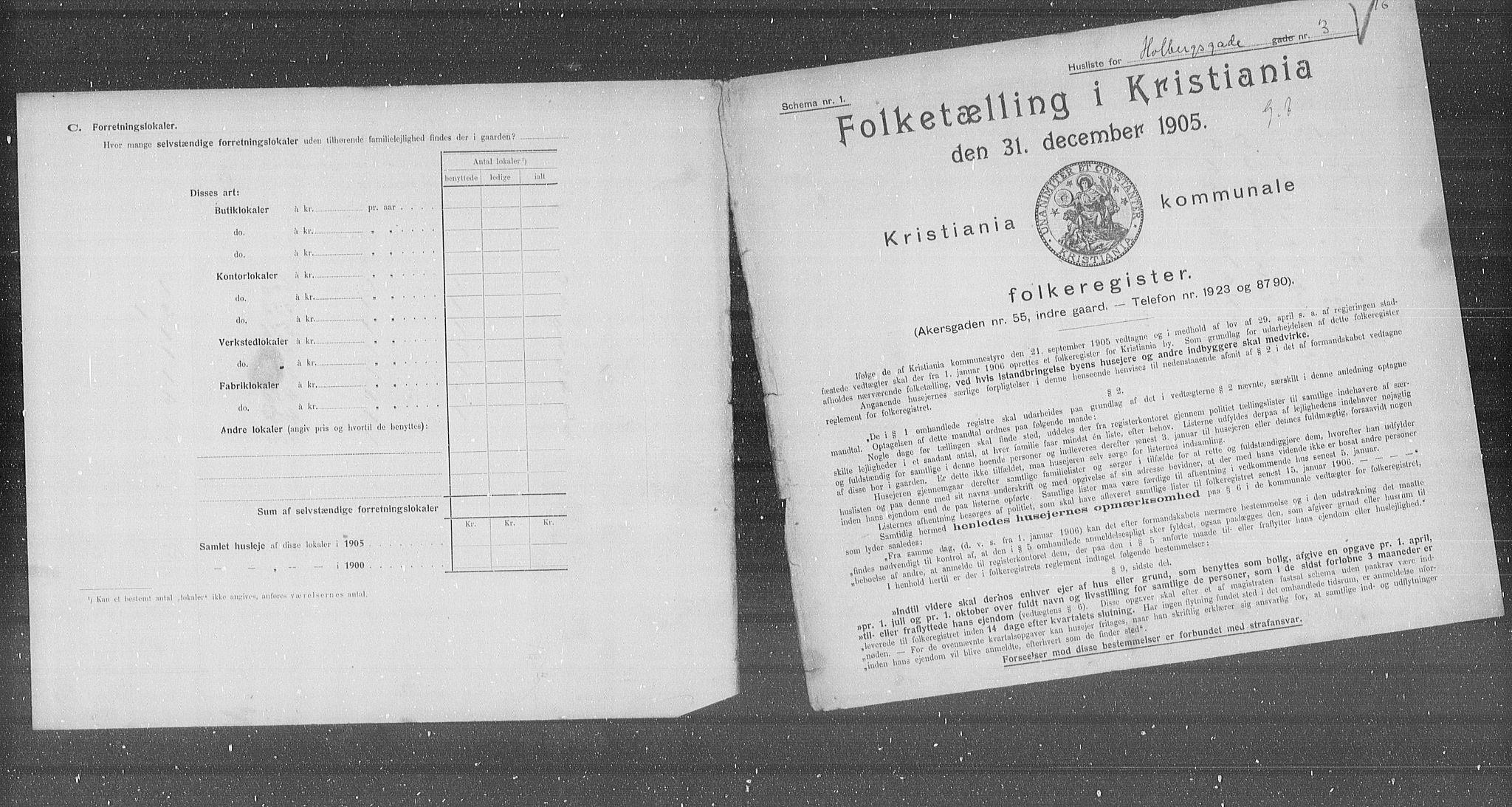 OBA, Municipal Census 1905 for Kristiania, 1905, p. 20920