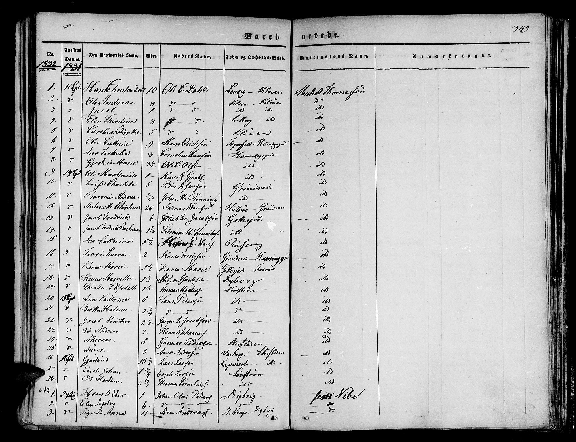 SATØ, Tranøy sokneprestkontor, I/Ia/Iaa/L0005kirke: Parish register (official) no. 5, 1829-1844, p. 349