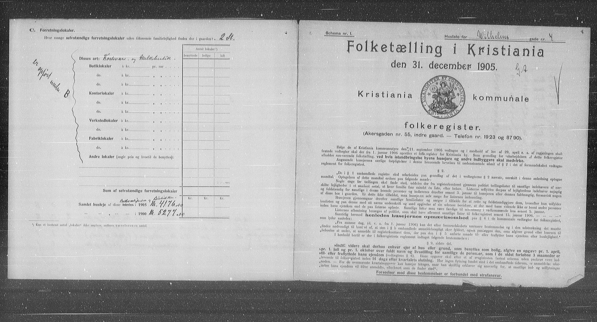 OBA, Municipal Census 1905 for Kristiania, 1905, p. 67387
